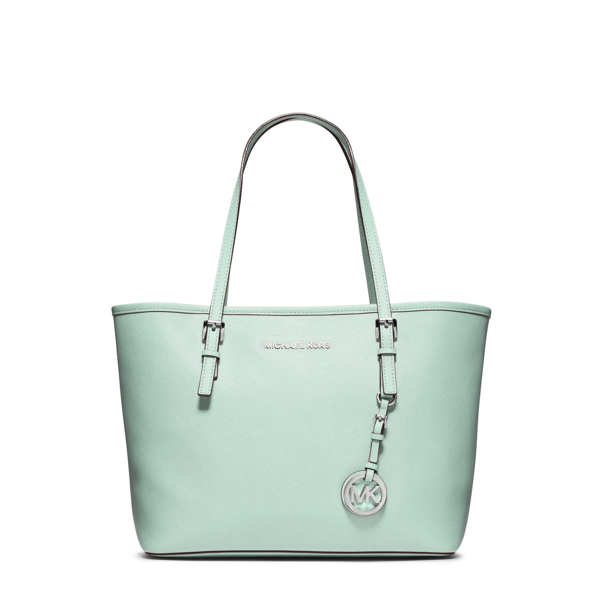 9e524cf732eb13 ... shopping lyst michael kors jet set travel small saffiano leather tote  in green 63000 7b16a