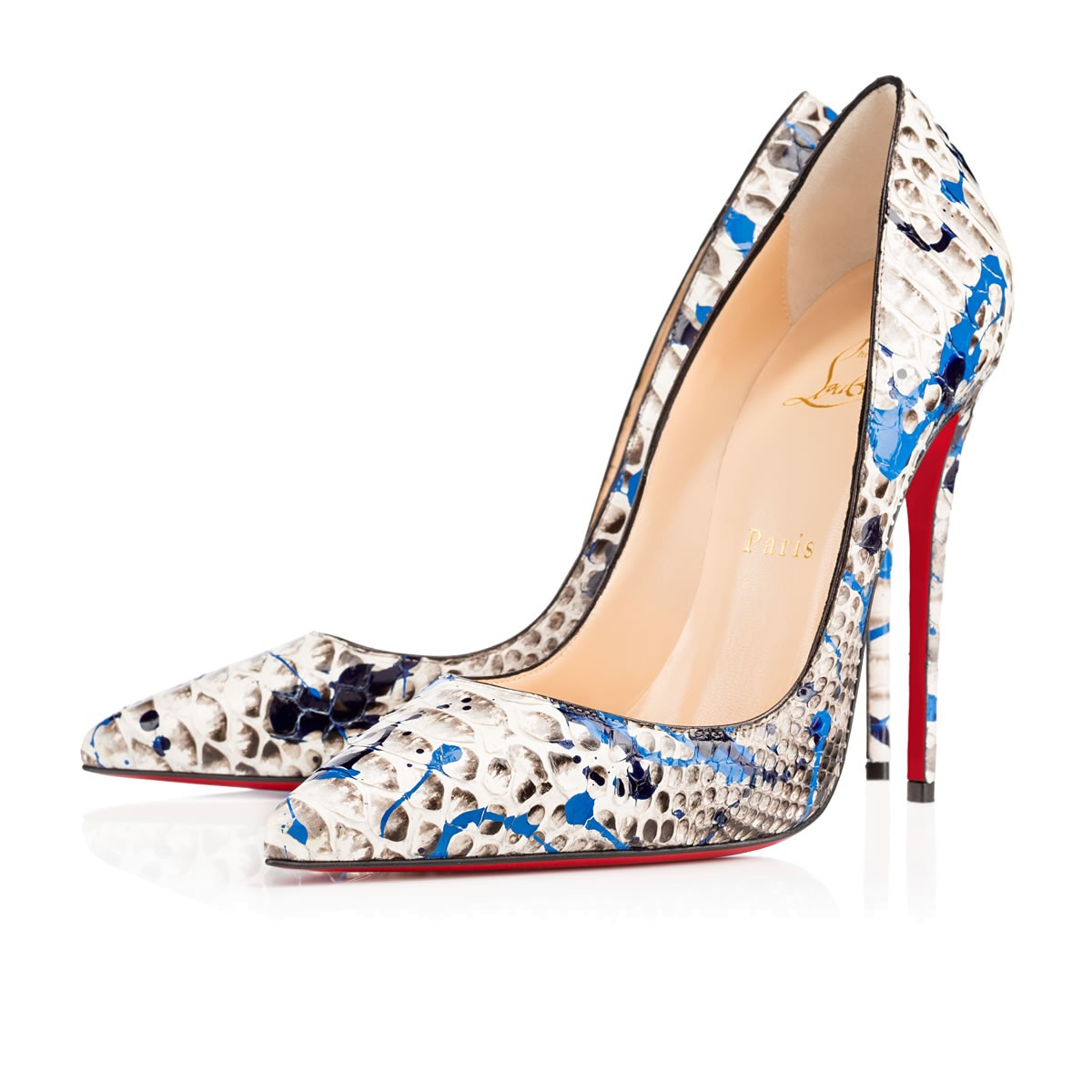 Christian louboutin So Kate Python Vulcano Pumps in Blue | Lyst