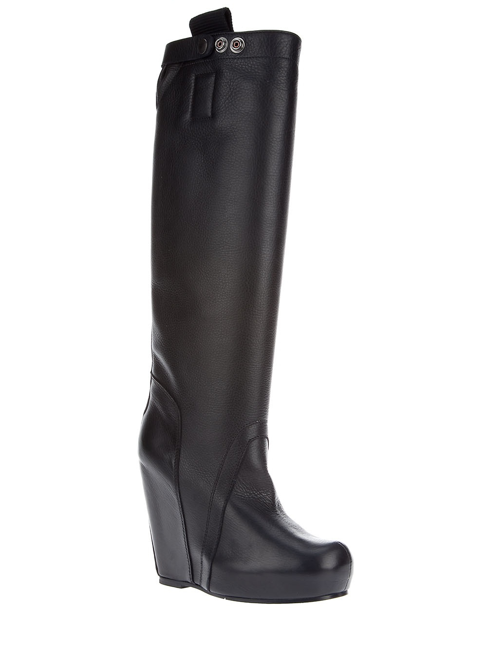 rick owens knee high wedge boots in black lyst