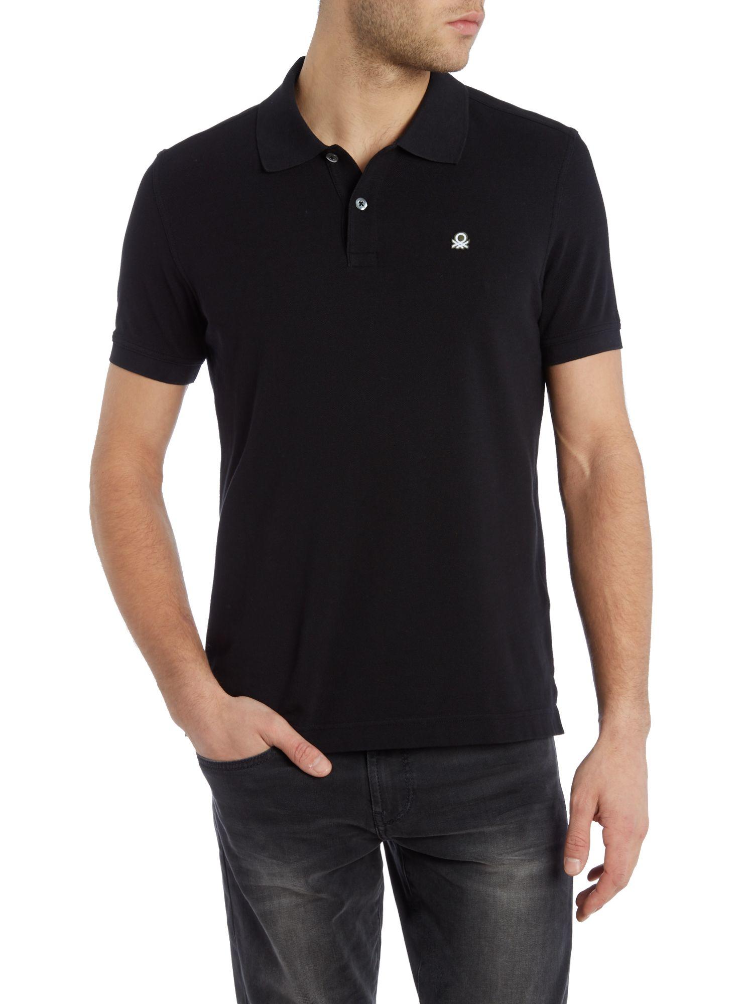 lyst benetton logo polo regular fit polo shirt in black