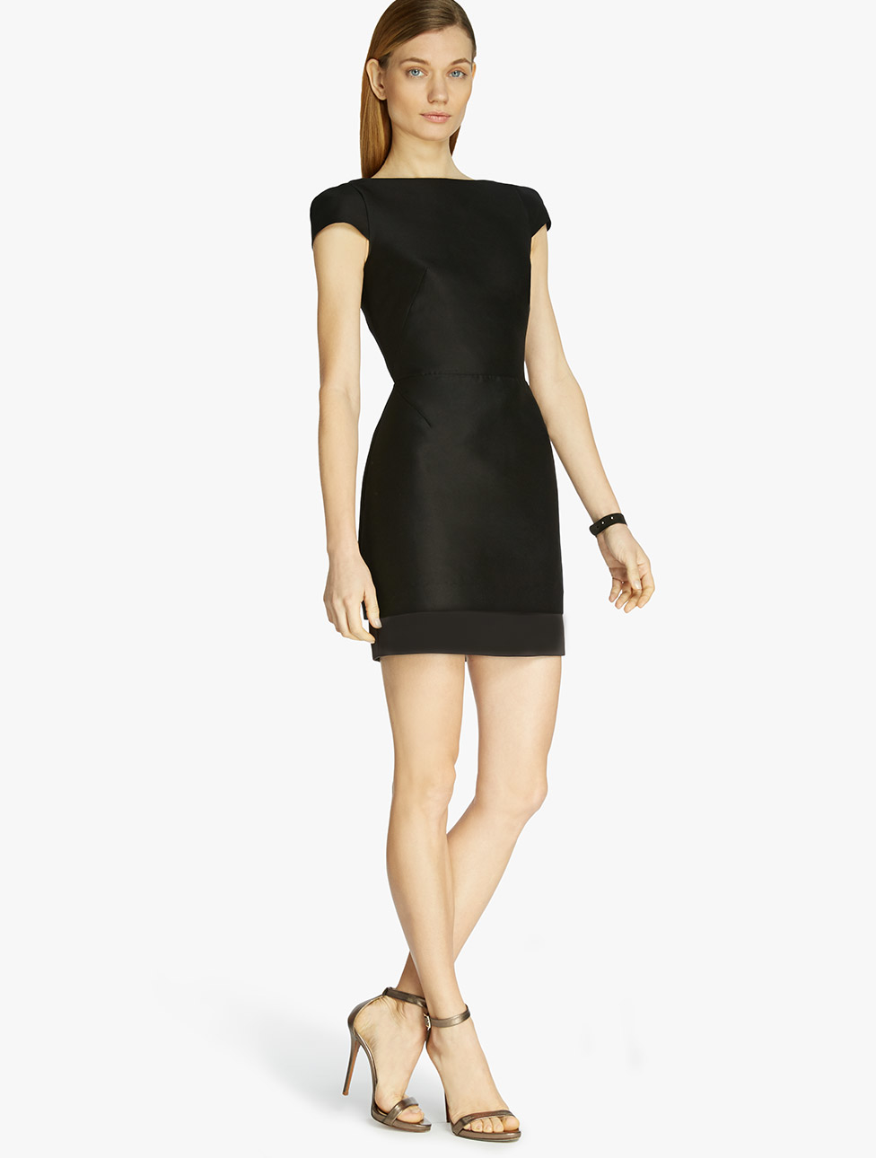Halston Faille Cut Out Dress In Black Lyst
