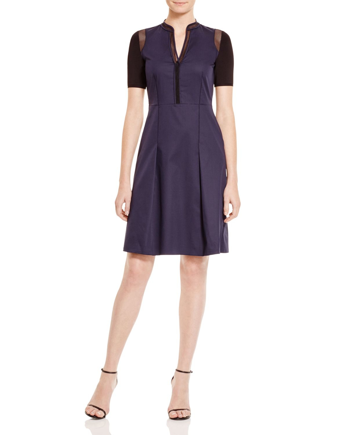 elie tahari hannah mixed media shirt dress in blue navy