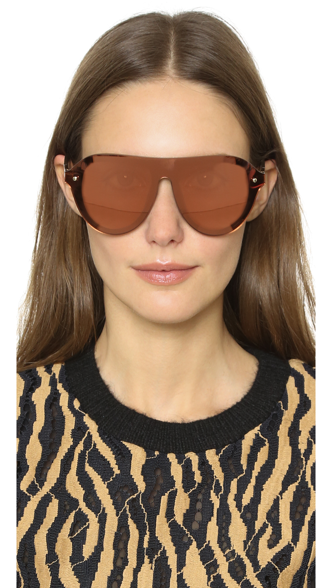 Oversized Mirrored Sunglasses  3 1 phillip lim oversized mirrored sunglasses army bronze copper