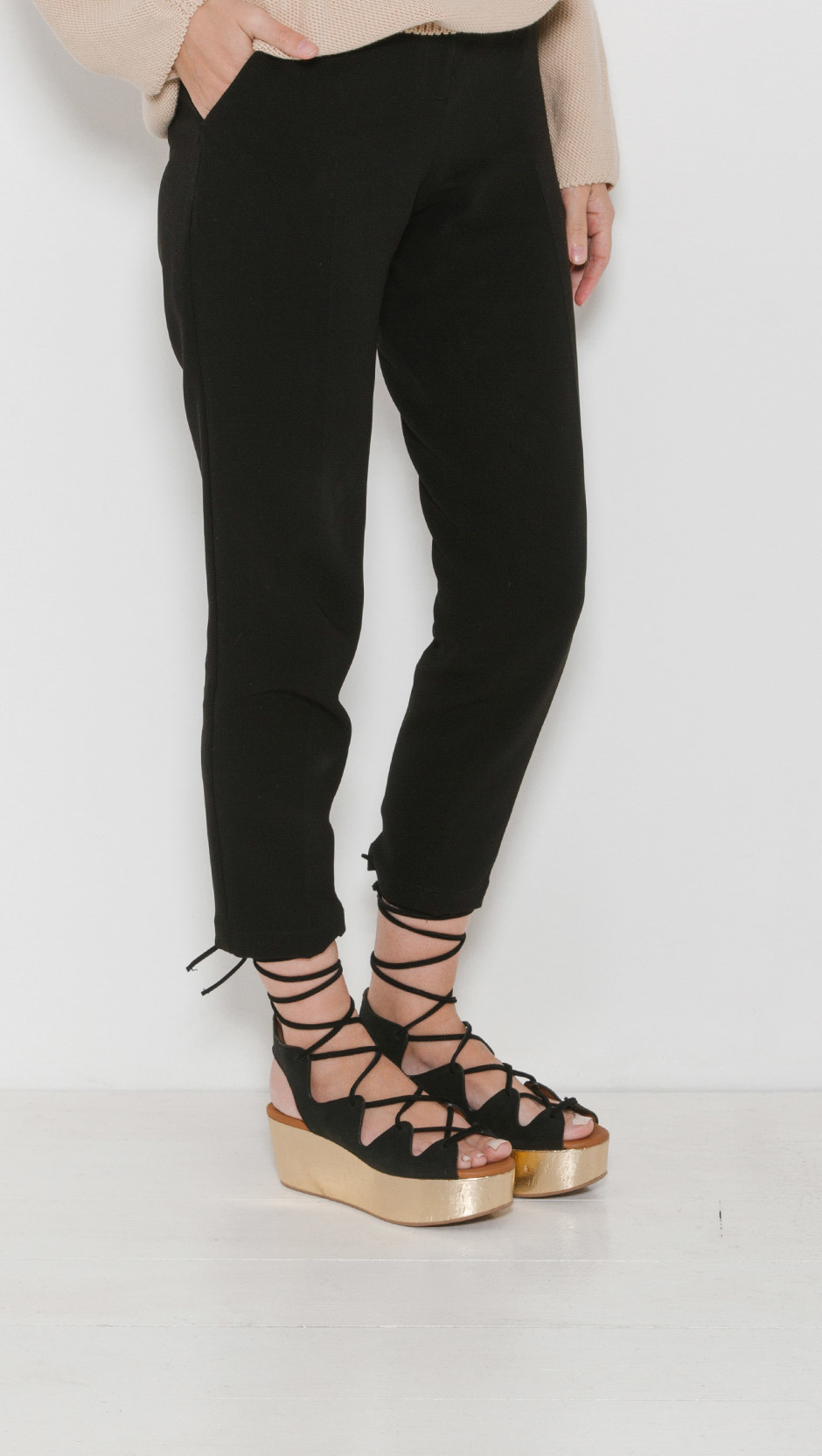 See By Chlo 233 Liana Wedge Lace Up Sandal In Black Lyst