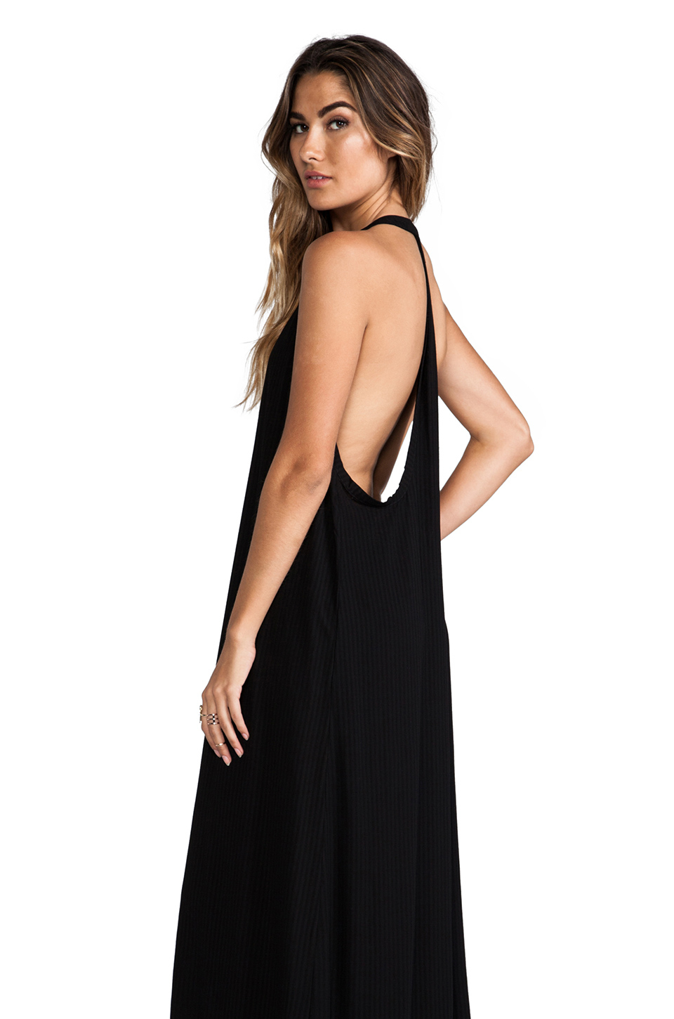 Black t back maxi dress