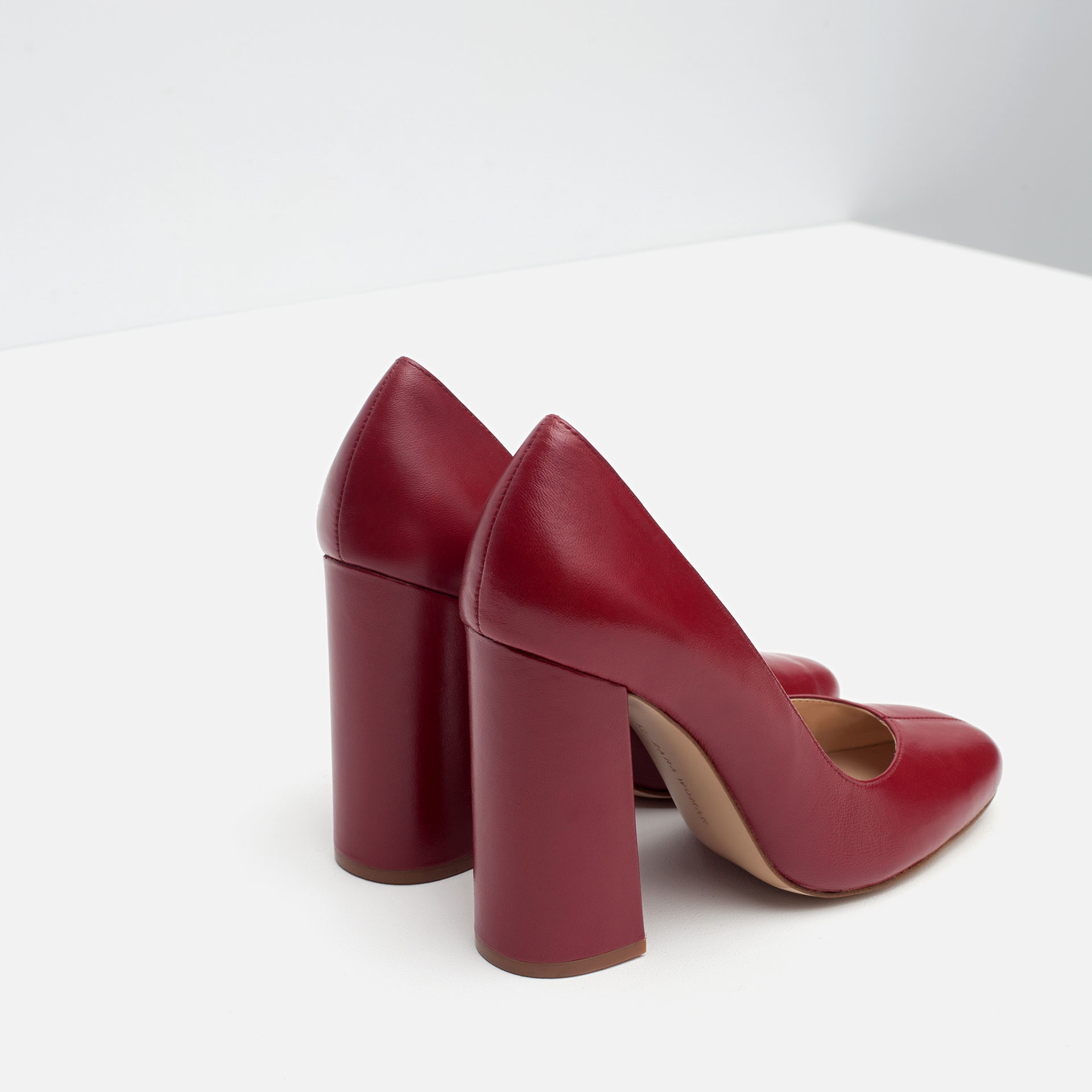 Zara Block Heel Leather High Heel Shoes in Red | Lyst