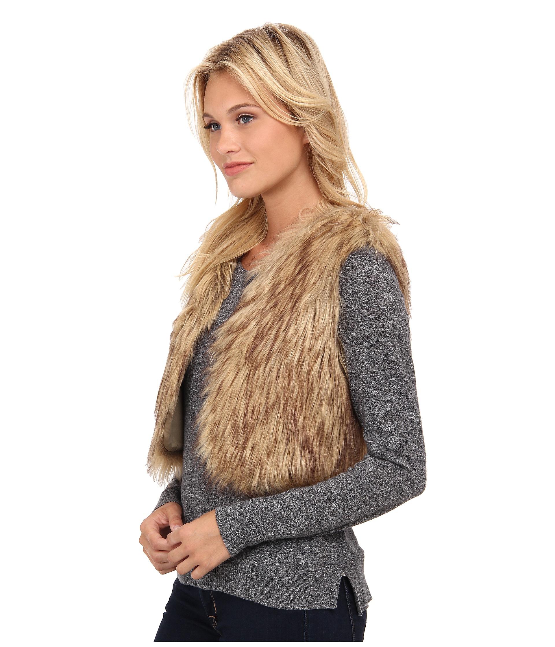 Jack bb dakota Azza Faux Fur Cropped Vest in Brown | Lyst