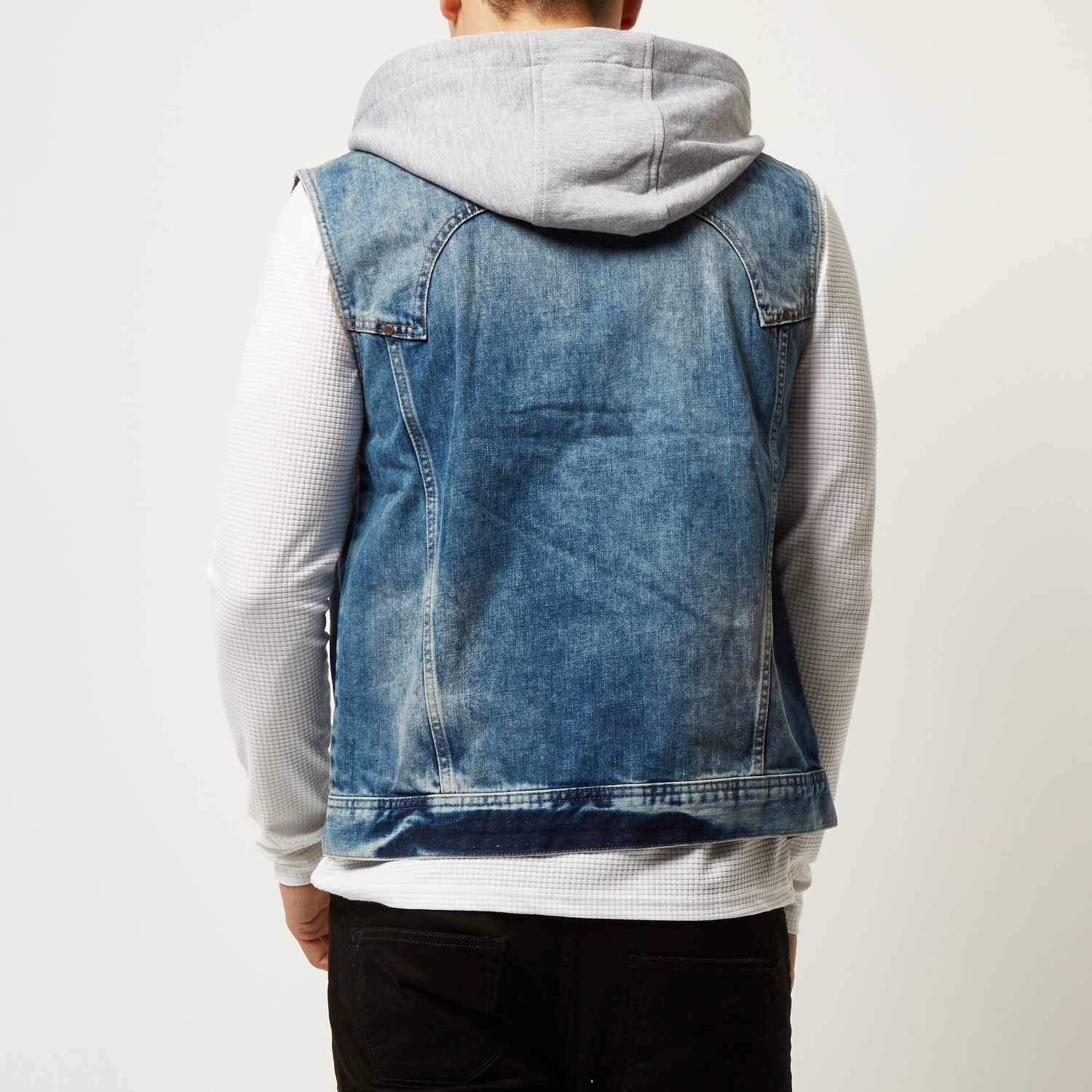 7102316ad9 River island Denim Casual Hoodie Sleeveless Jacket in Blue for Men .