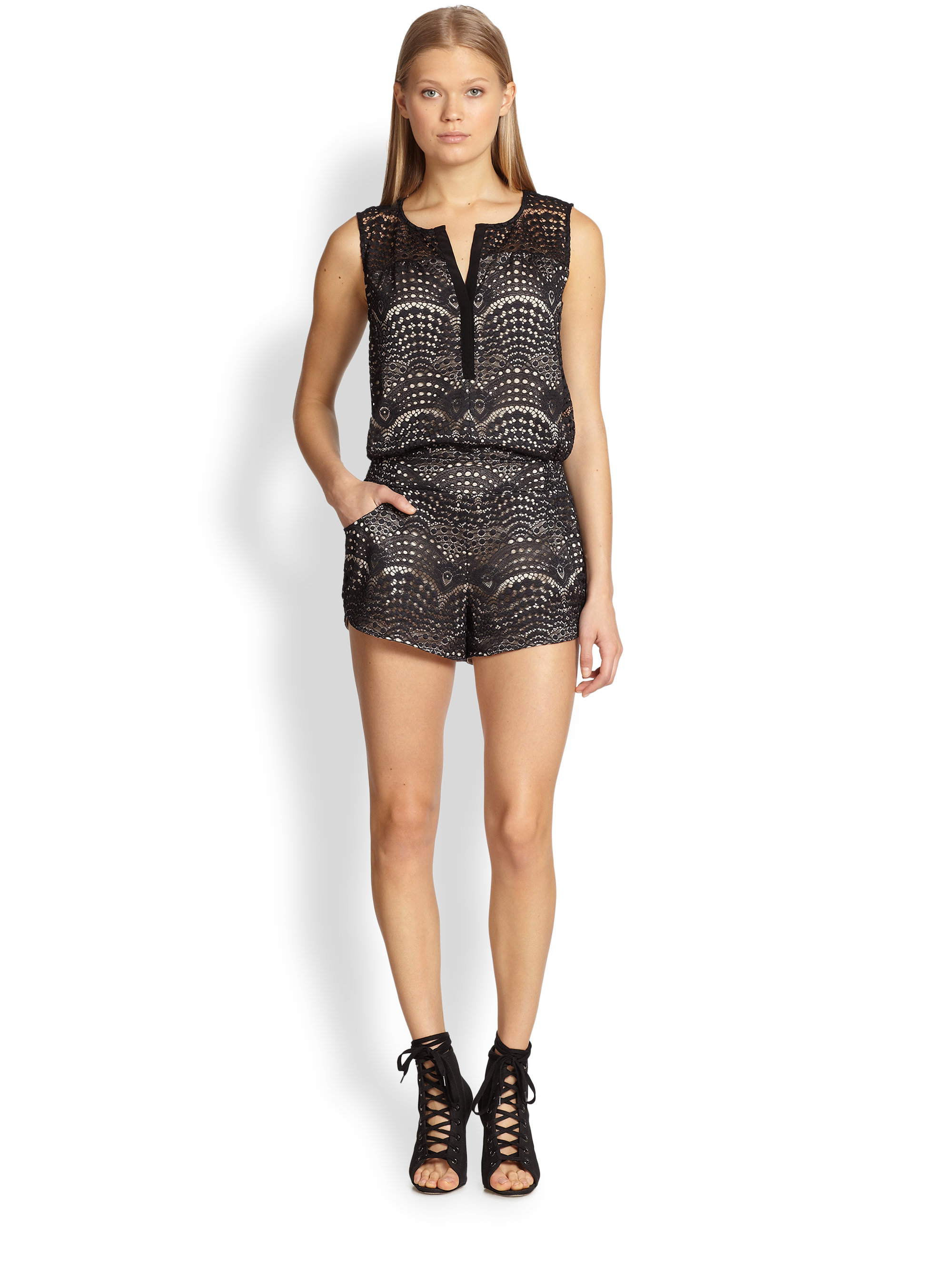 Twelfth street cynthia vincent Lace Short Jumpsuit in Black | Lyst