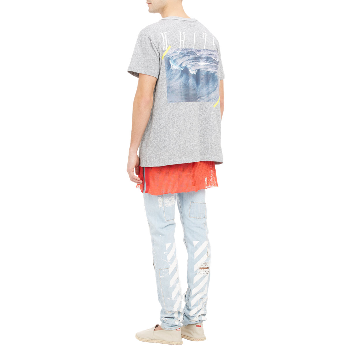 Off white c o virgil abloh waves graphic t shirt in gray for Off white virgil abloh