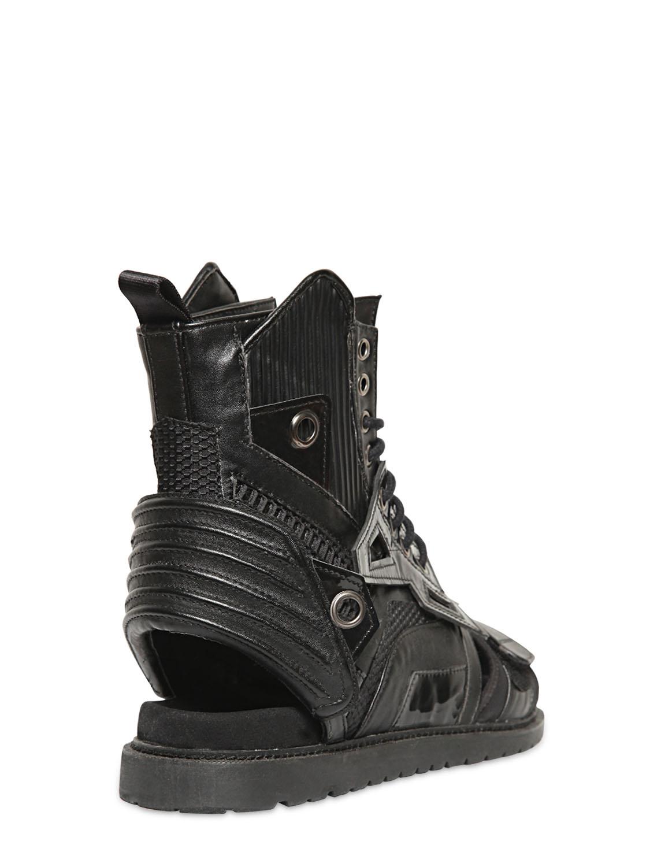 Lyst Ktz Leather Combat Sandal Boots In Black For Men
