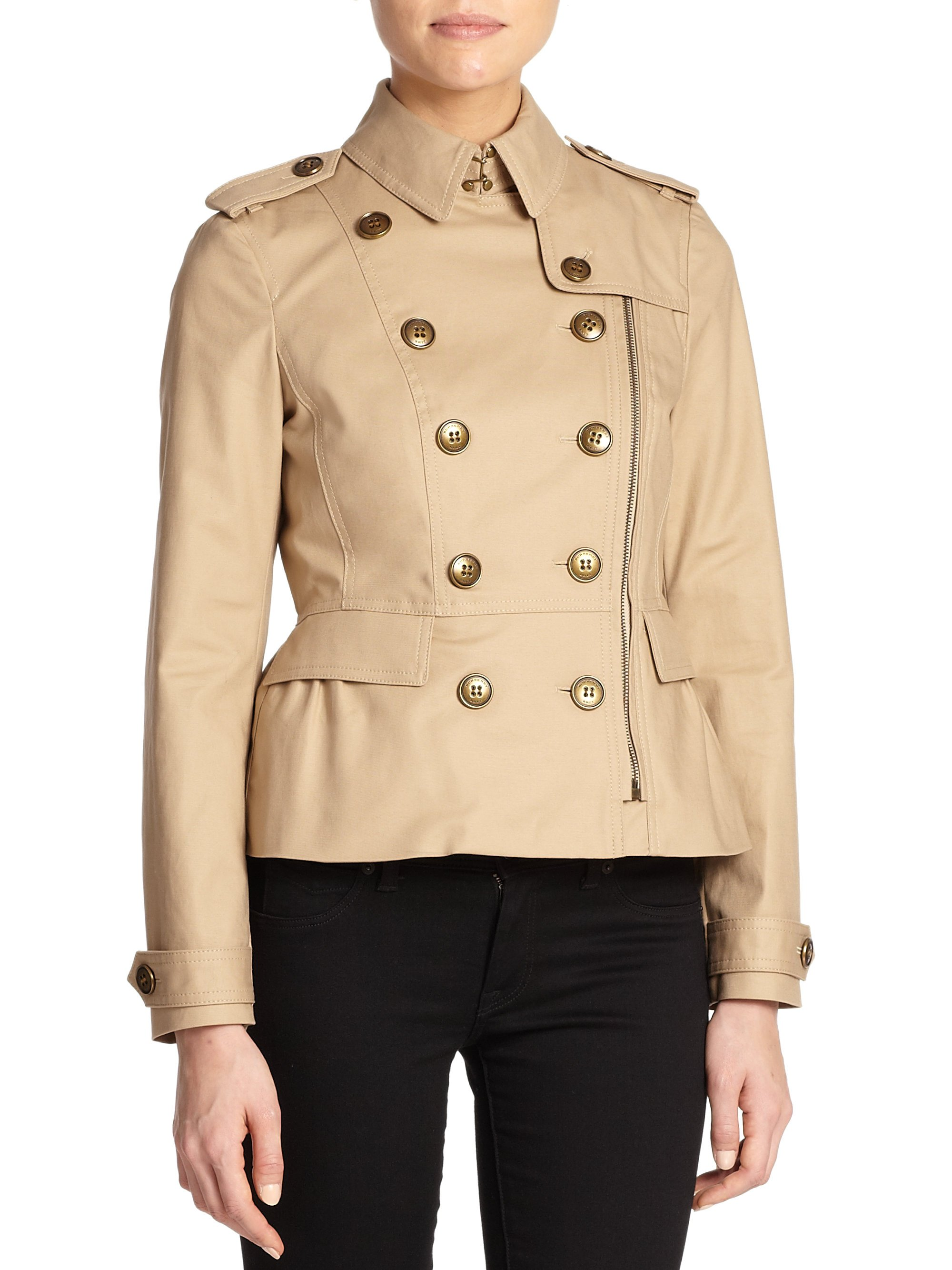 Burberry Brit Brookleigh Short Trenchcoat In Natural
