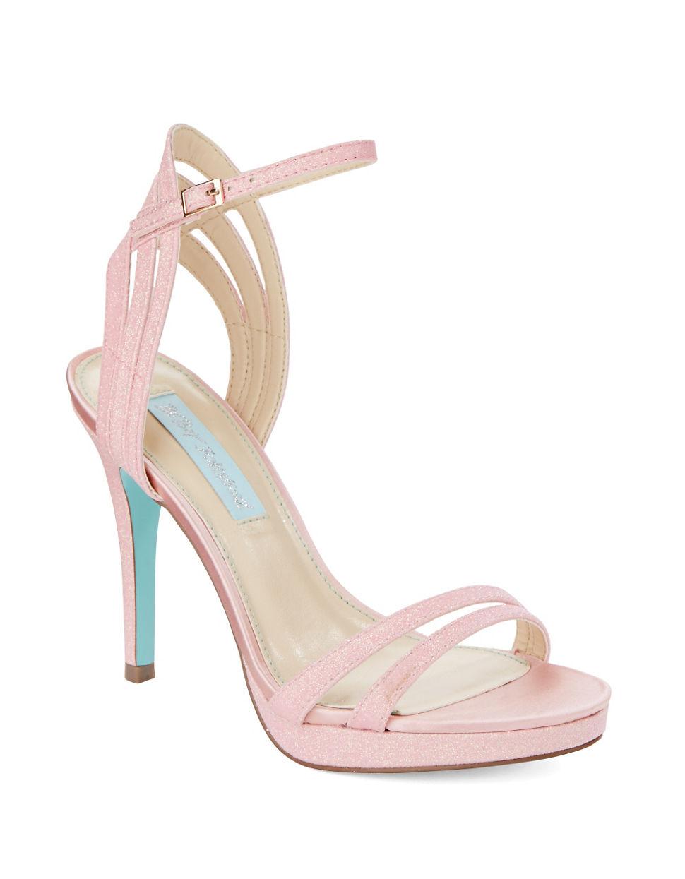 betsey johnson ella glitter platform stilettos in pink lyst