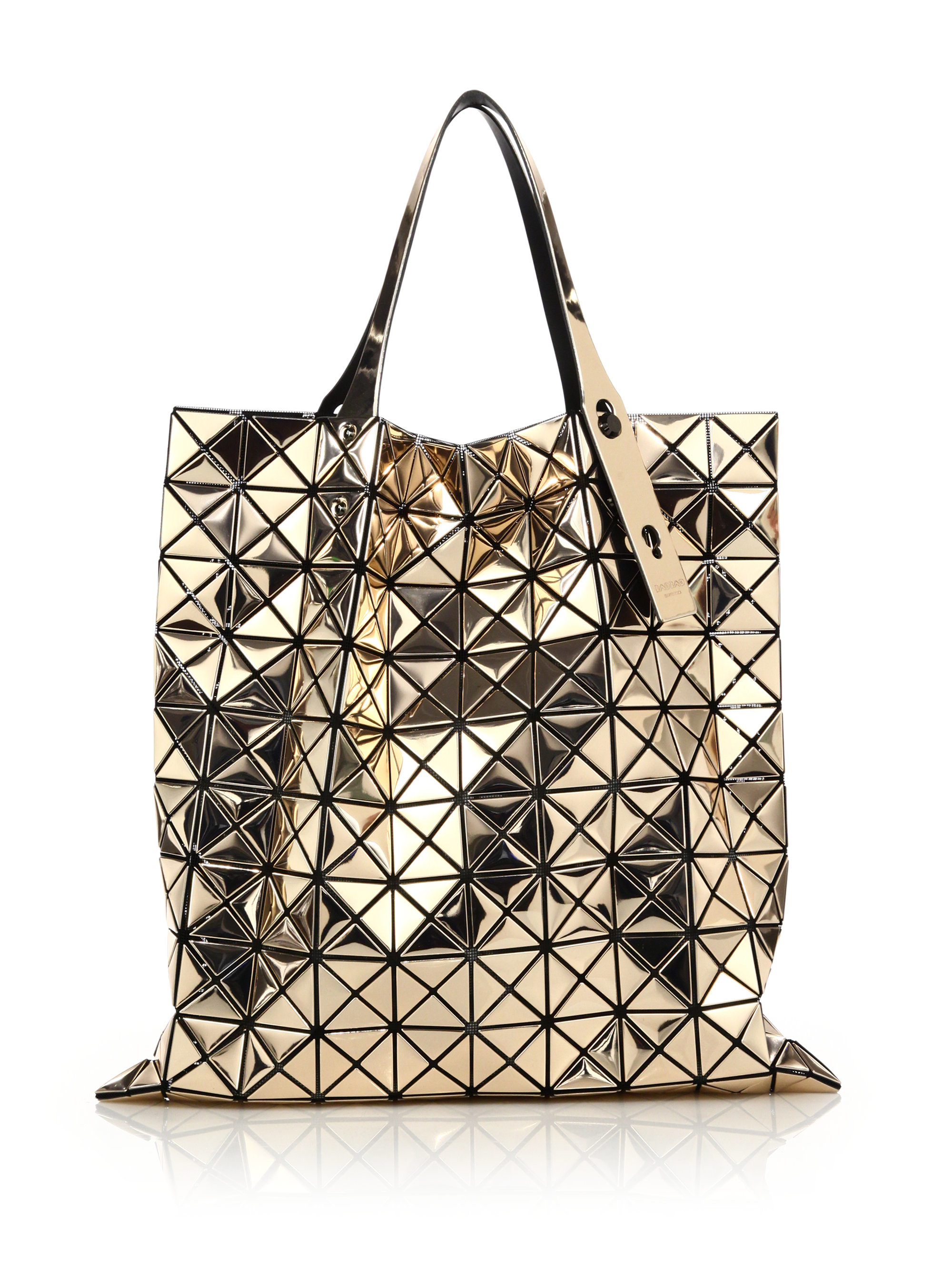 Lyst - Bao Bao Issey Miyake Platinum Faux Patent Leather Tote in ... 54de56eb8d9af