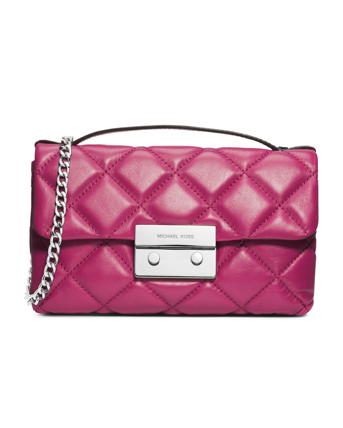 michael michael kors small sloan quilted messenger in pink deep pink. Black Bedroom Furniture Sets. Home Design Ideas