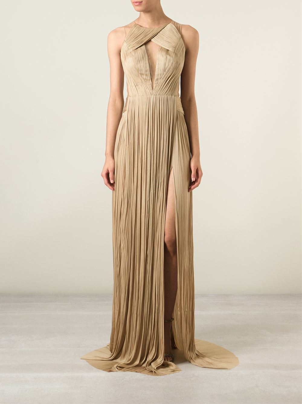 Lyst - Maria Lucia Hohan Mesh-Panel Pleated Gown In Metallic-1048