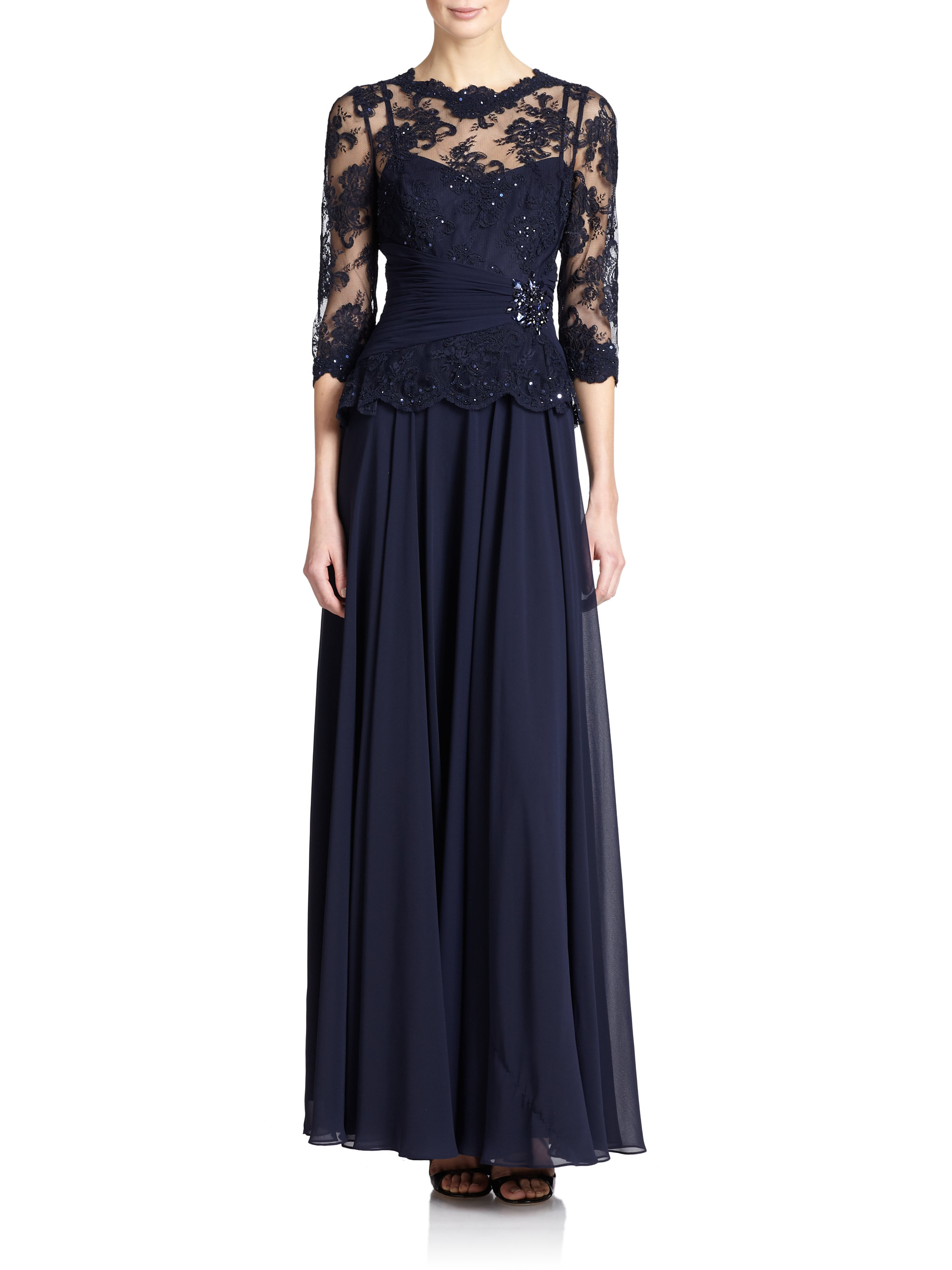 teri jon embellished lace amp chiffon gown in blue lyst