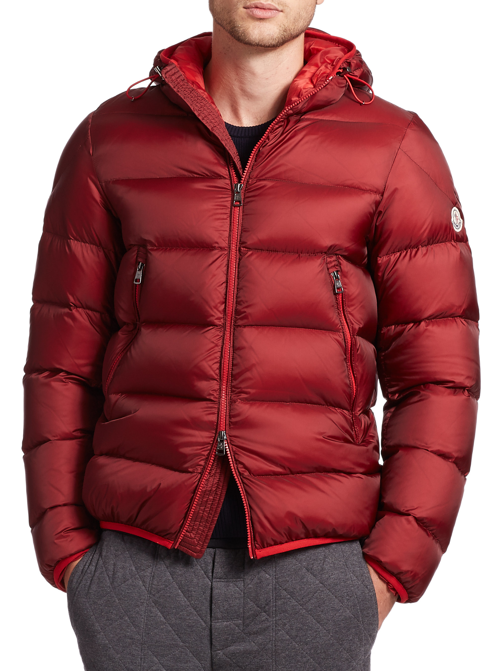 Moncler Chauvon Hooded Down Jacket in Red for Men | Lyst