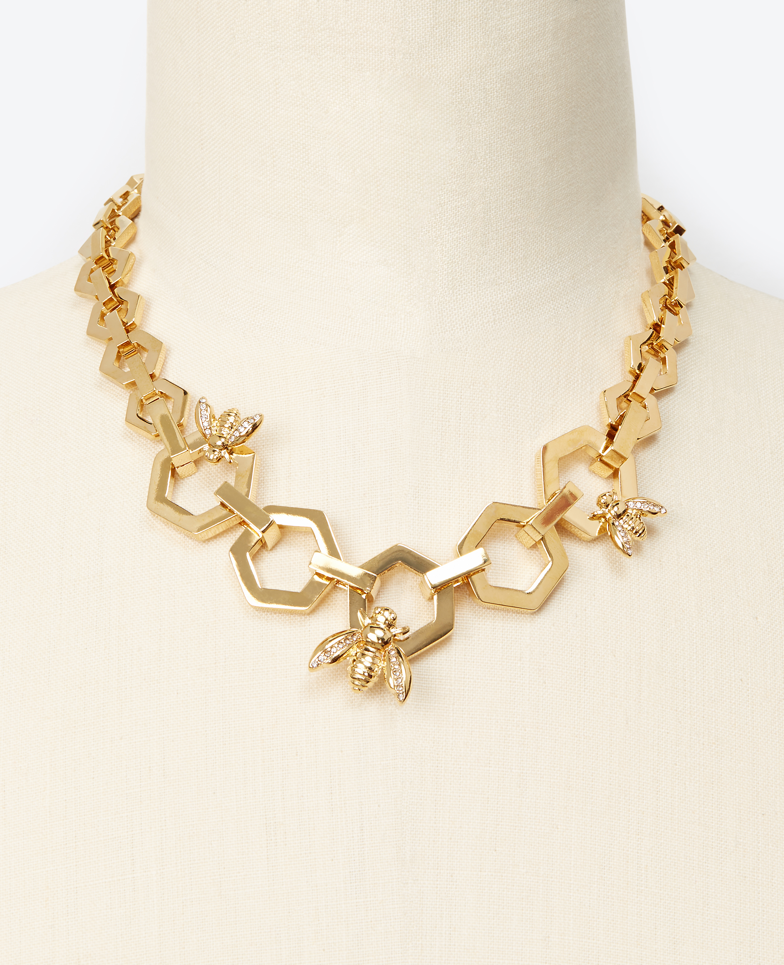 ann taylor bumble bee honeycomb necklace in metallic lyst