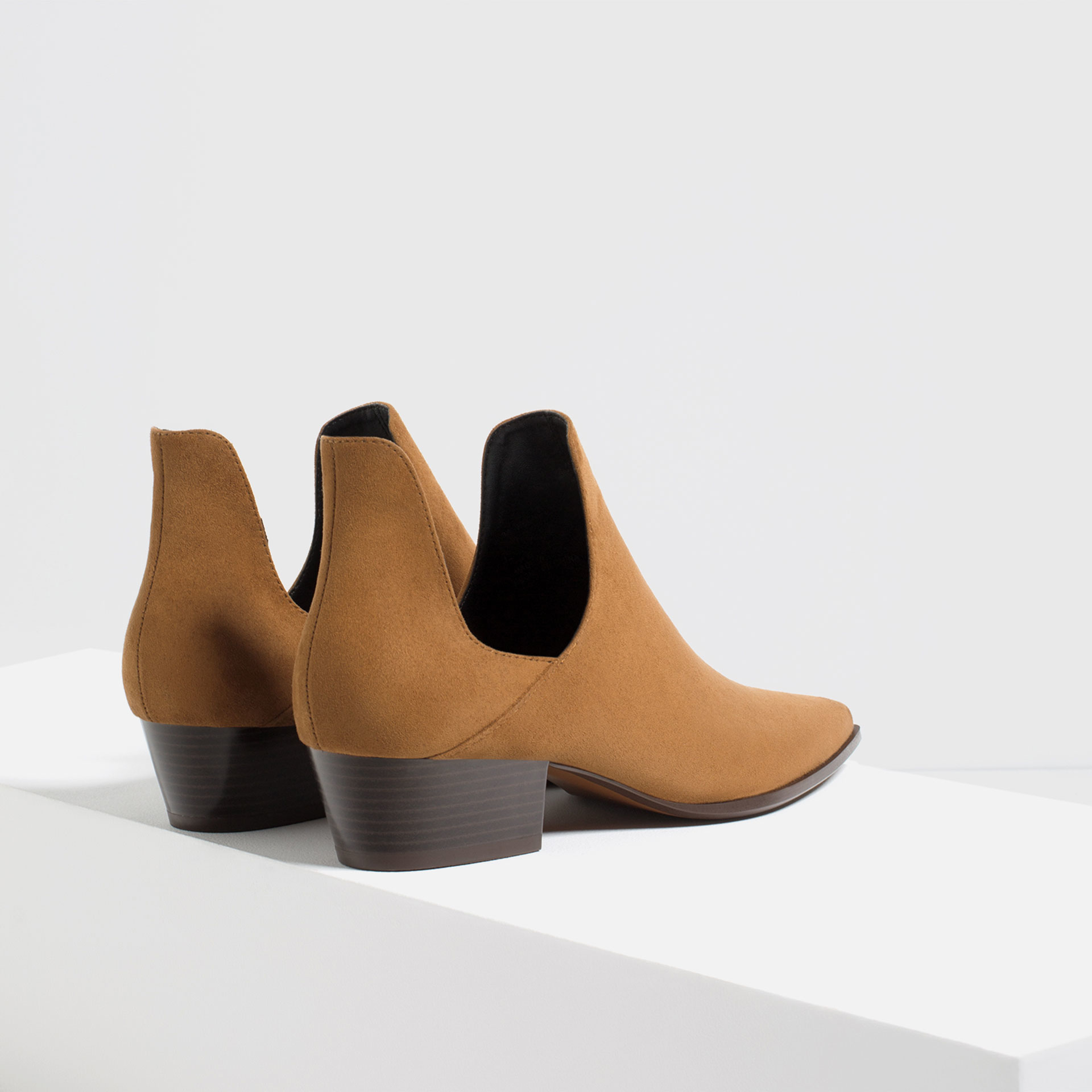 zara open ankle boots with heel in brown lyst
