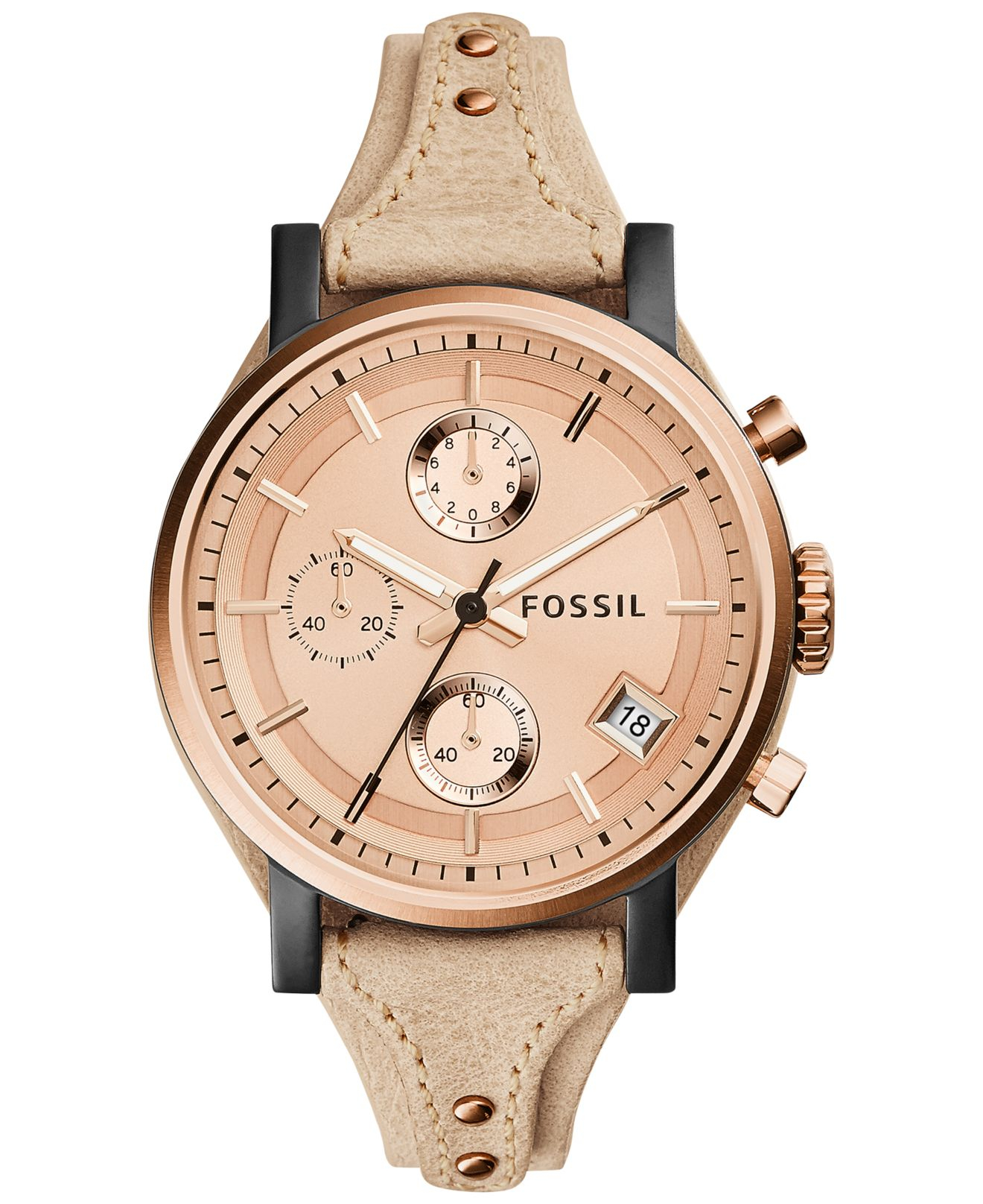 060974b1553 Lyst - Fossil Women S Chronograph Original Boyfriend Sand Leather ...