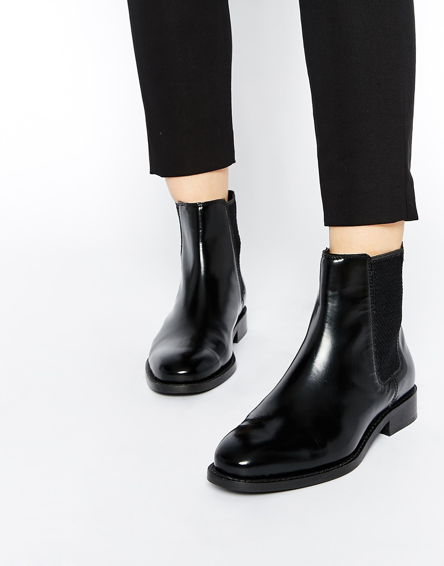 asos abingdon leather chelsea ankle boots in black lyst