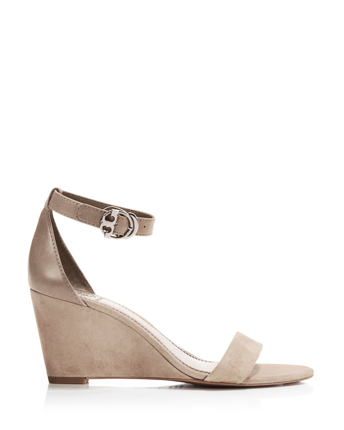 1d4275a573b8b Lyst - Tory Burch Ankle Strap Wedge Sandals - Grant Suede .