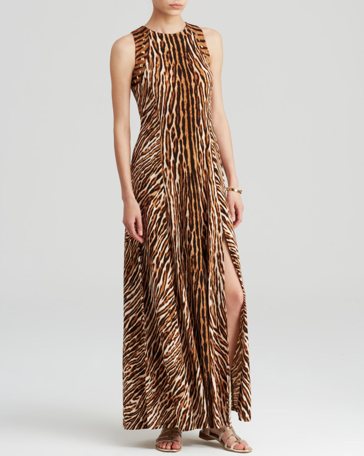 Michael michael kors Animal Print Maxi Dress in Brown | Lyst