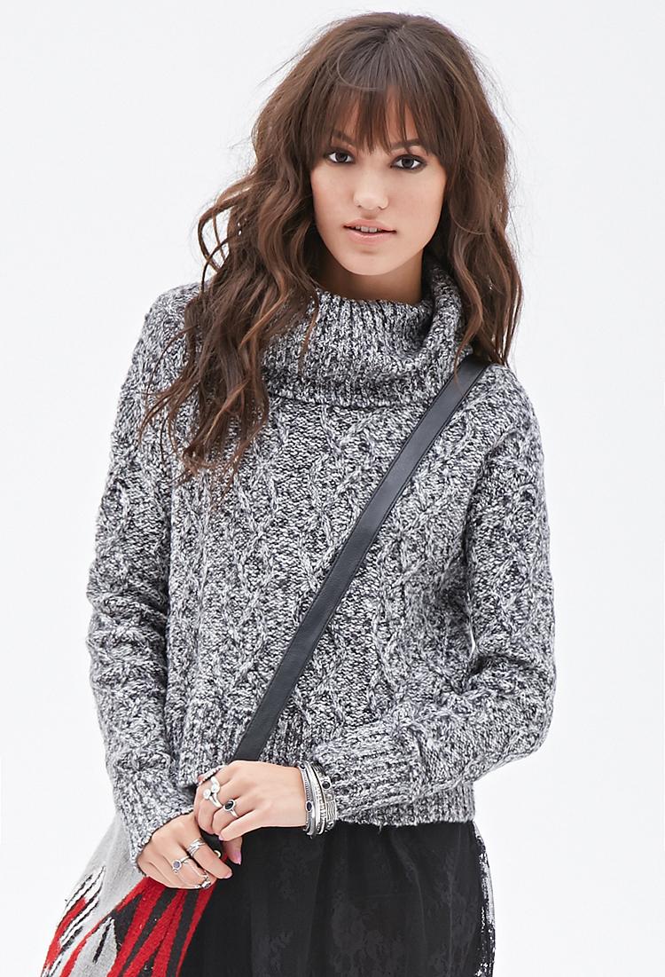 Lyst - Forever 21 Oversized Turtleneck Sweater in Black 94733fdb5