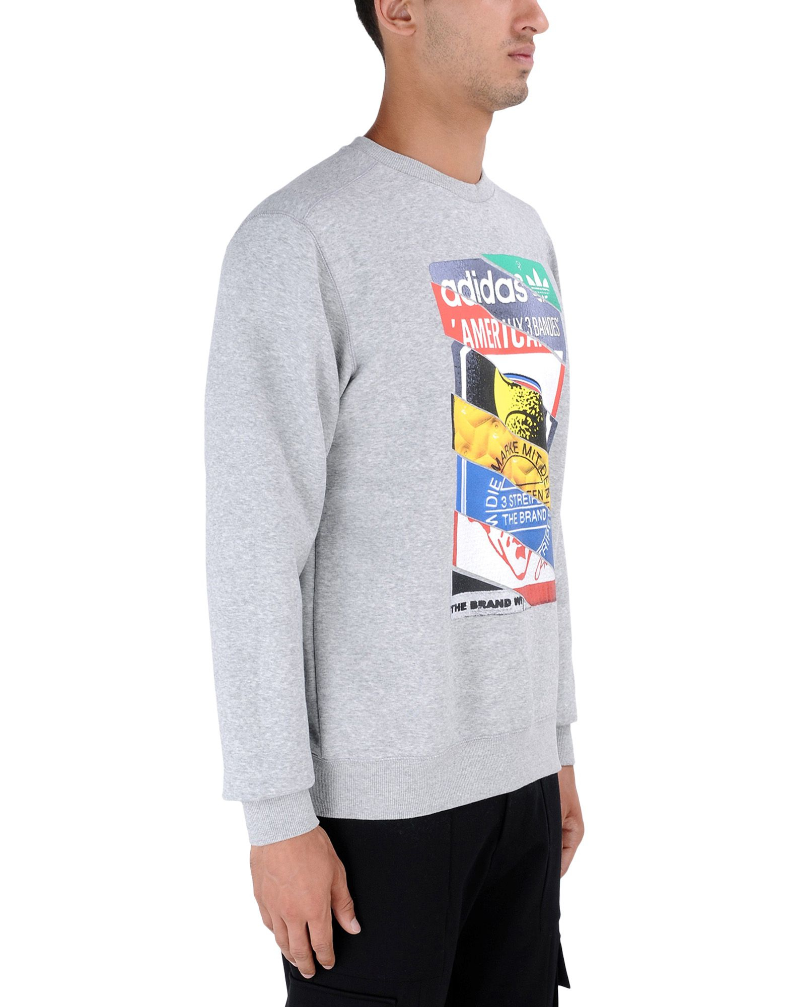 adidas originals sweatshirt in gray for men light grey. Black Bedroom Furniture Sets. Home Design Ideas