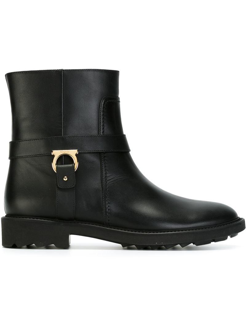 Lyst Ferragamo Gancio Bit Ankle Boots In Black