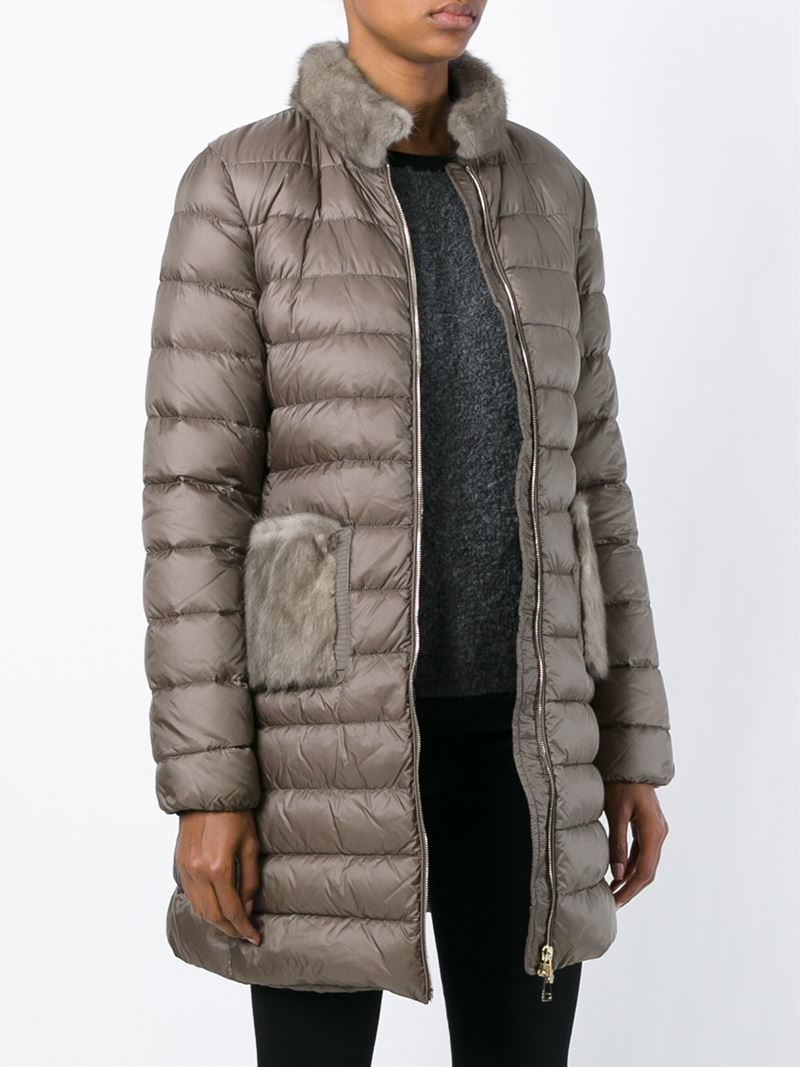 Moncler 'ancy' Padded Coat in Brown | Lyst