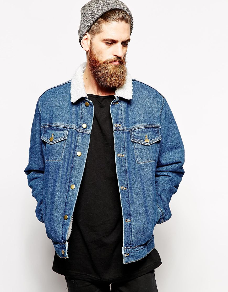 Gallery - American Apparel Denim Jacket With Sherpa Collar In Blue For Men