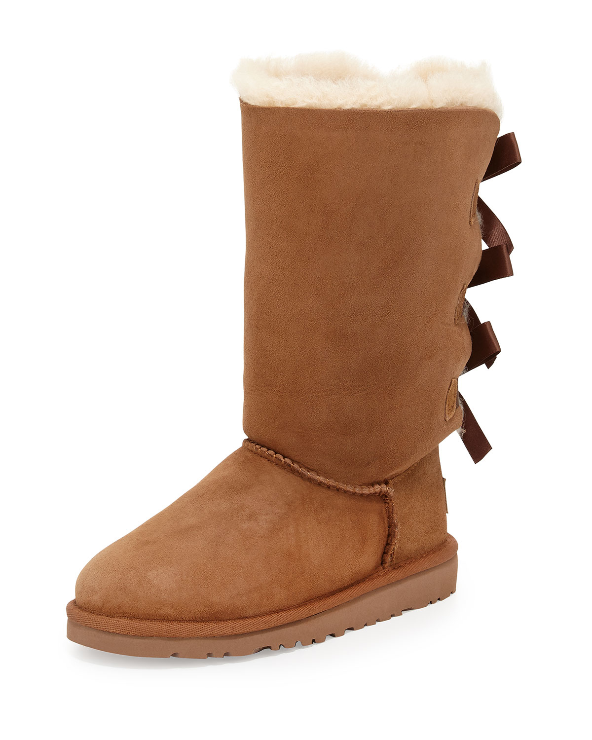 lyst ugg bailey bow detailed sheepskin boots in brown. Black Bedroom Furniture Sets. Home Design Ideas