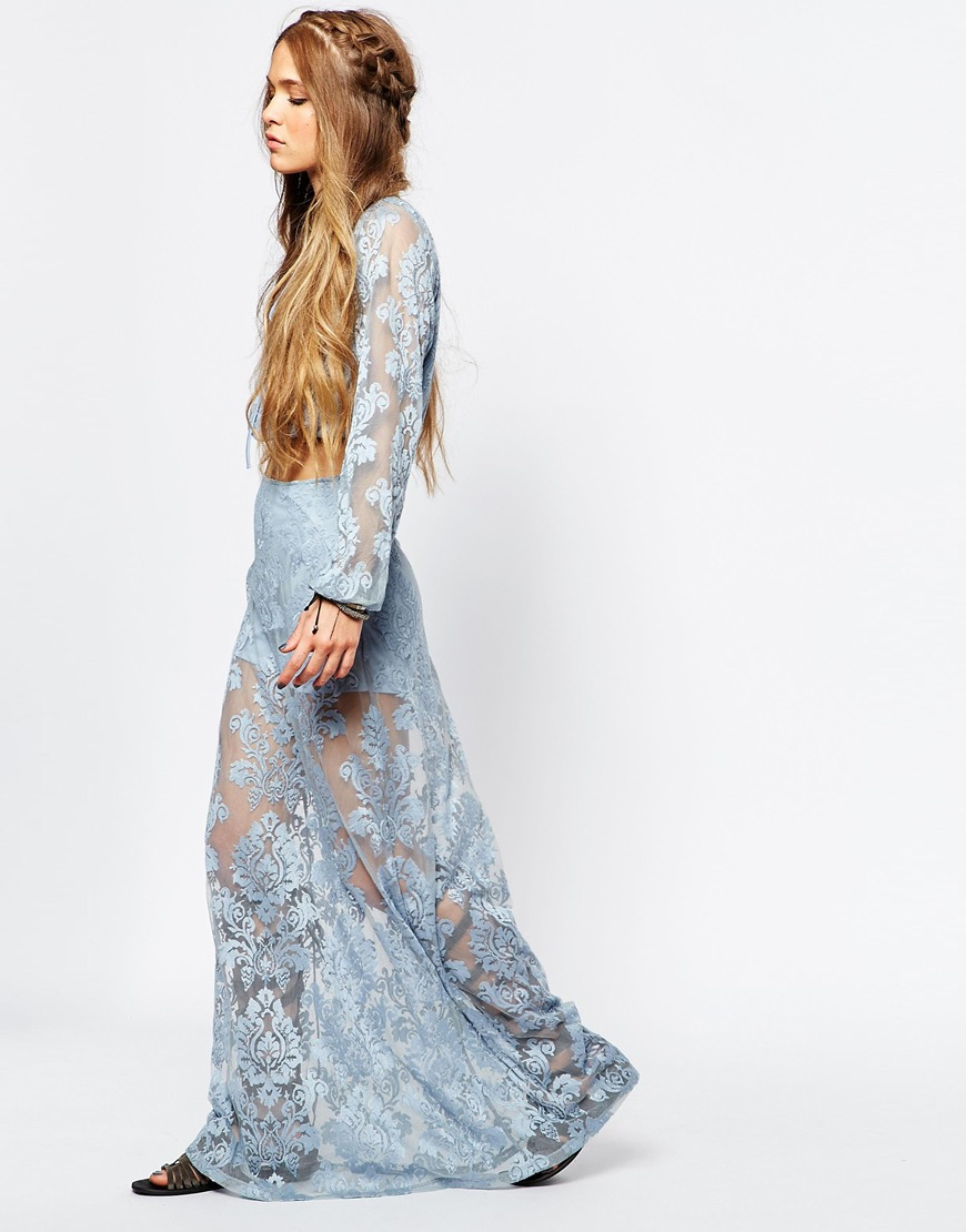 honey punch lace maxi skirt in blue freshwater lyst