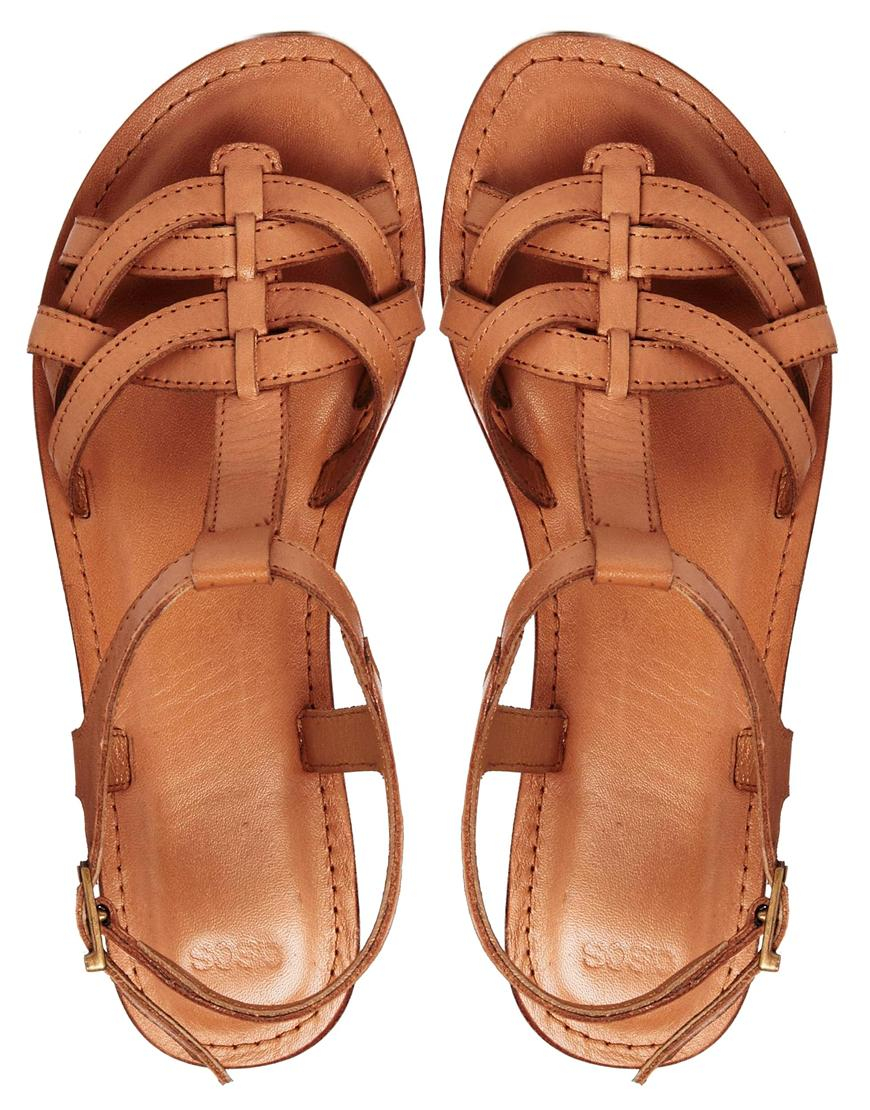Lyst - ASOS Flightplan Leather Flat Sandals in Brown