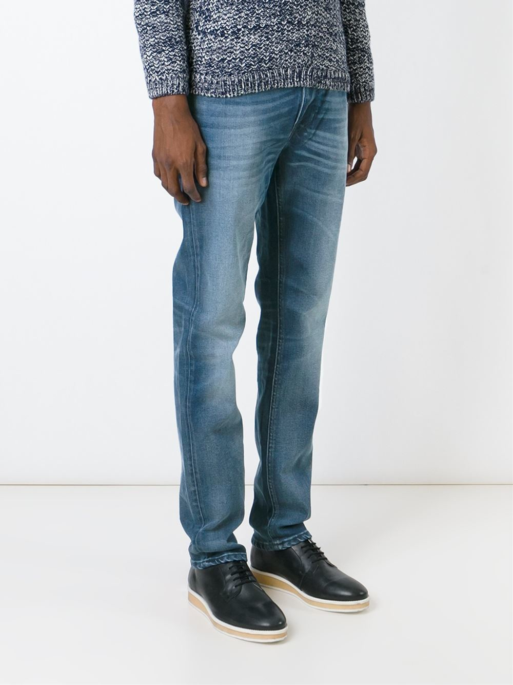 lyst nudie jeans slim fit jeans in blue for men. Black Bedroom Furniture Sets. Home Design Ideas