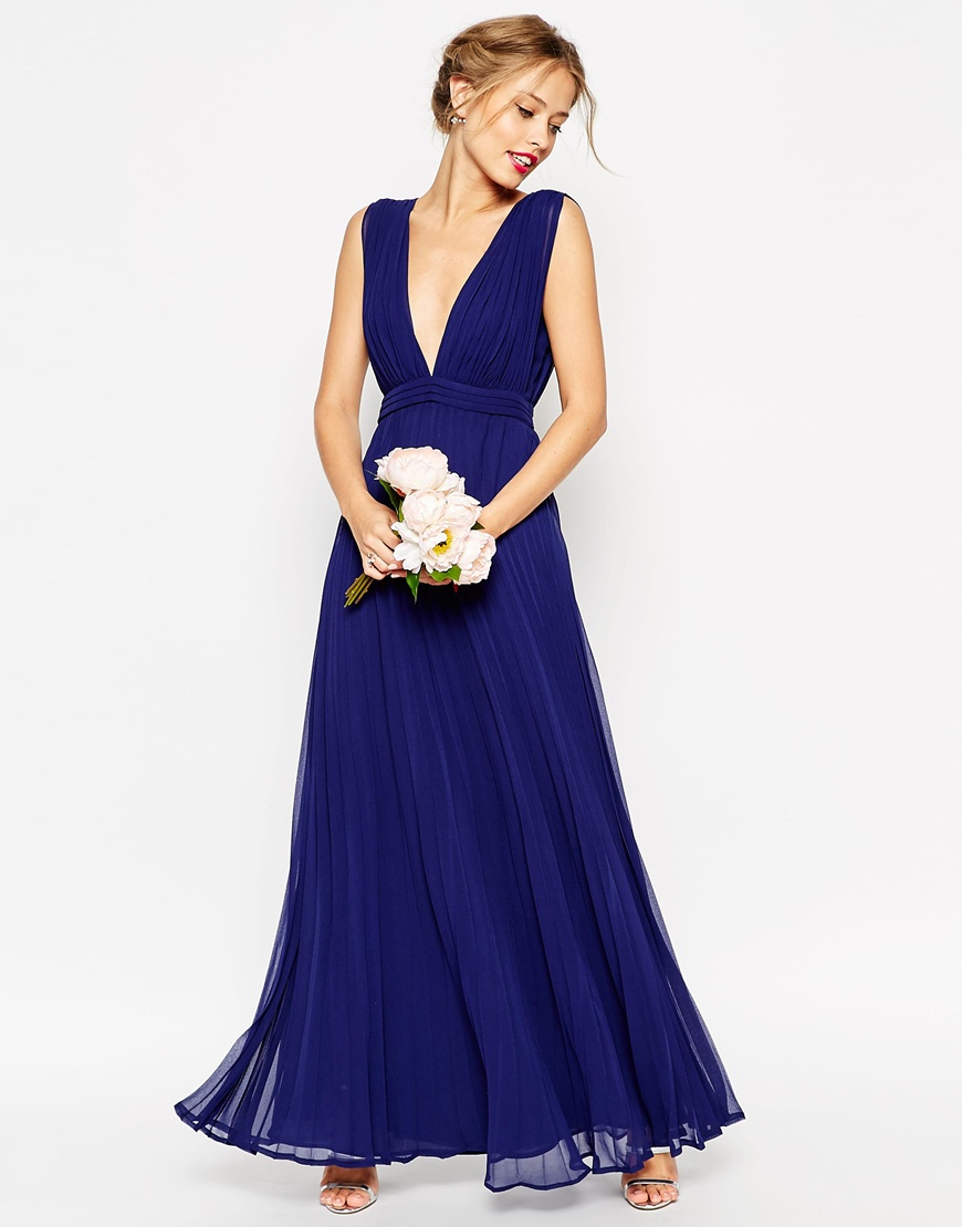 Lyst asos wedding deep plunge super full pleated maxi for Maxi dresses for weddings