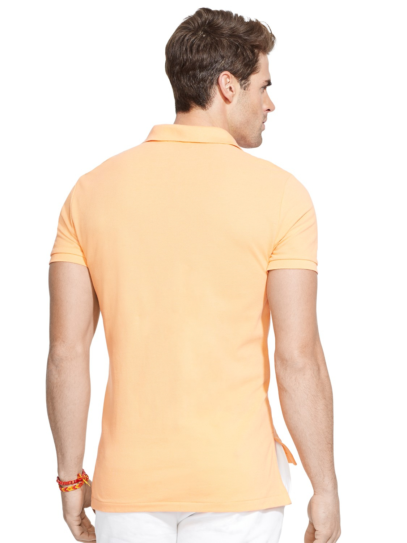 Polo ralph lauren custom fit mesh polo shirt in beige for for Polo ralph lauren custom fit polo shirt