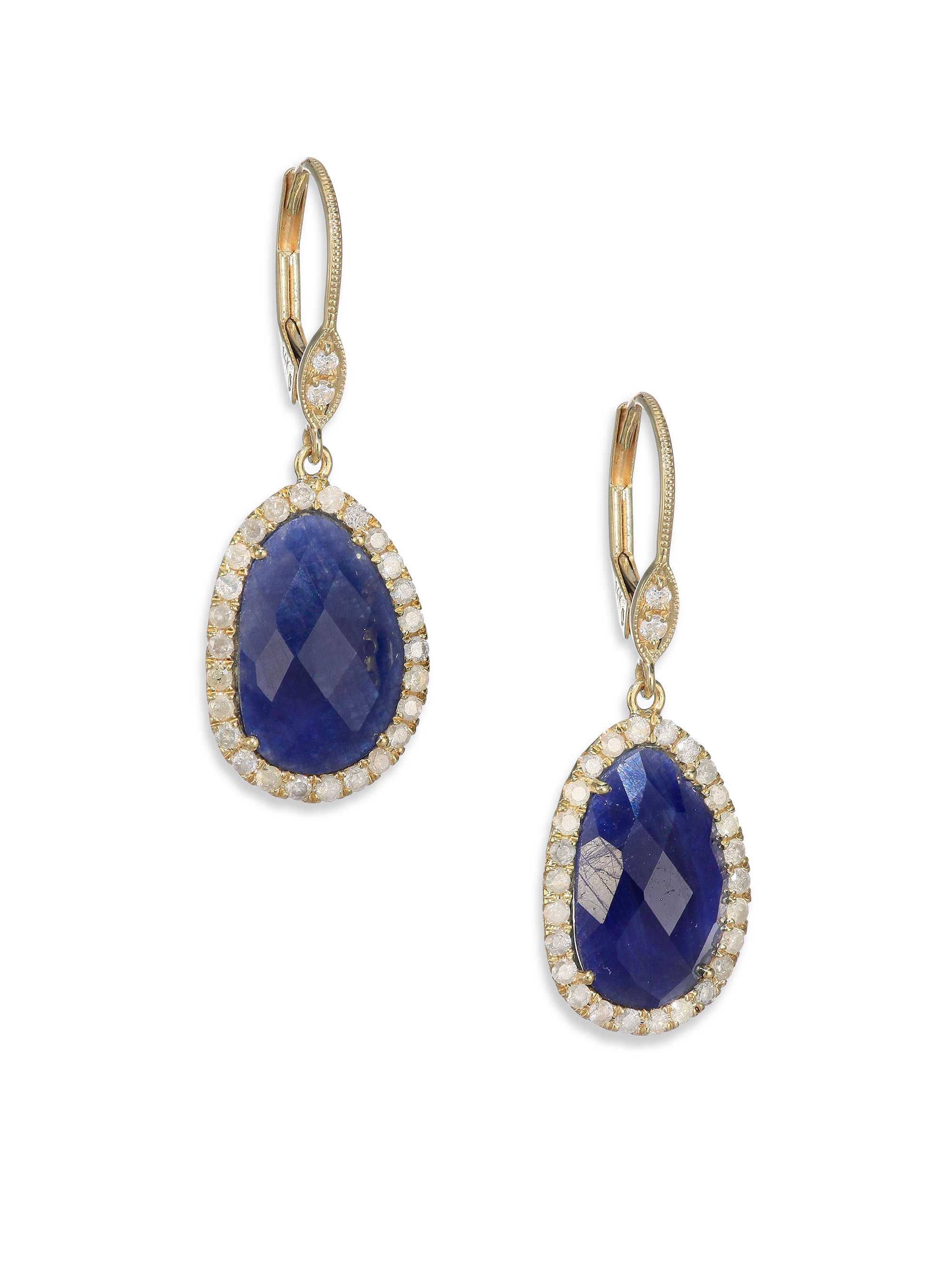 Meira t Sapphire Diamond & 14k Yellow Gold Drop Earrings in Blue