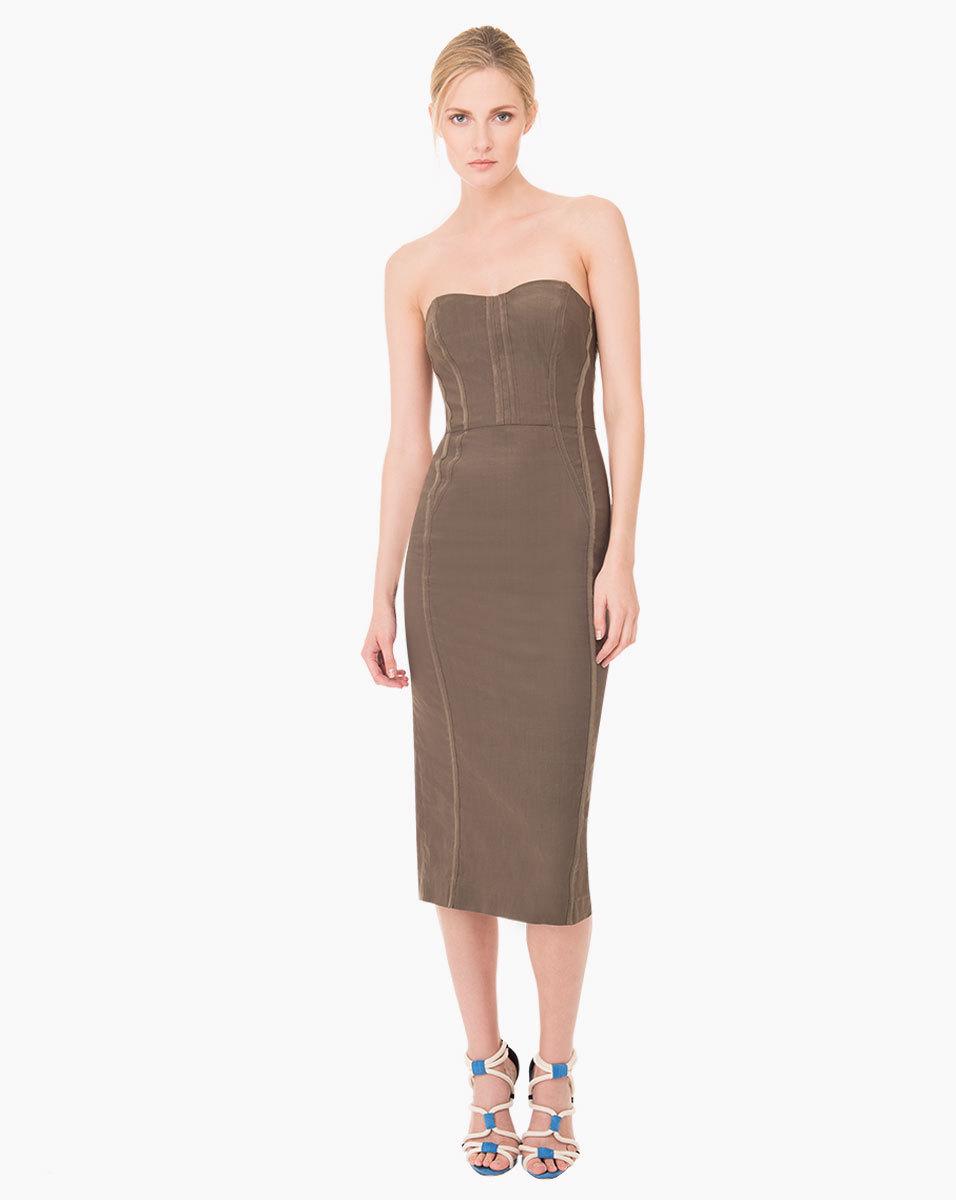 845b9fb8ef8 Veronica Beard Maui Strapless Bustier Dress in Green - Lyst