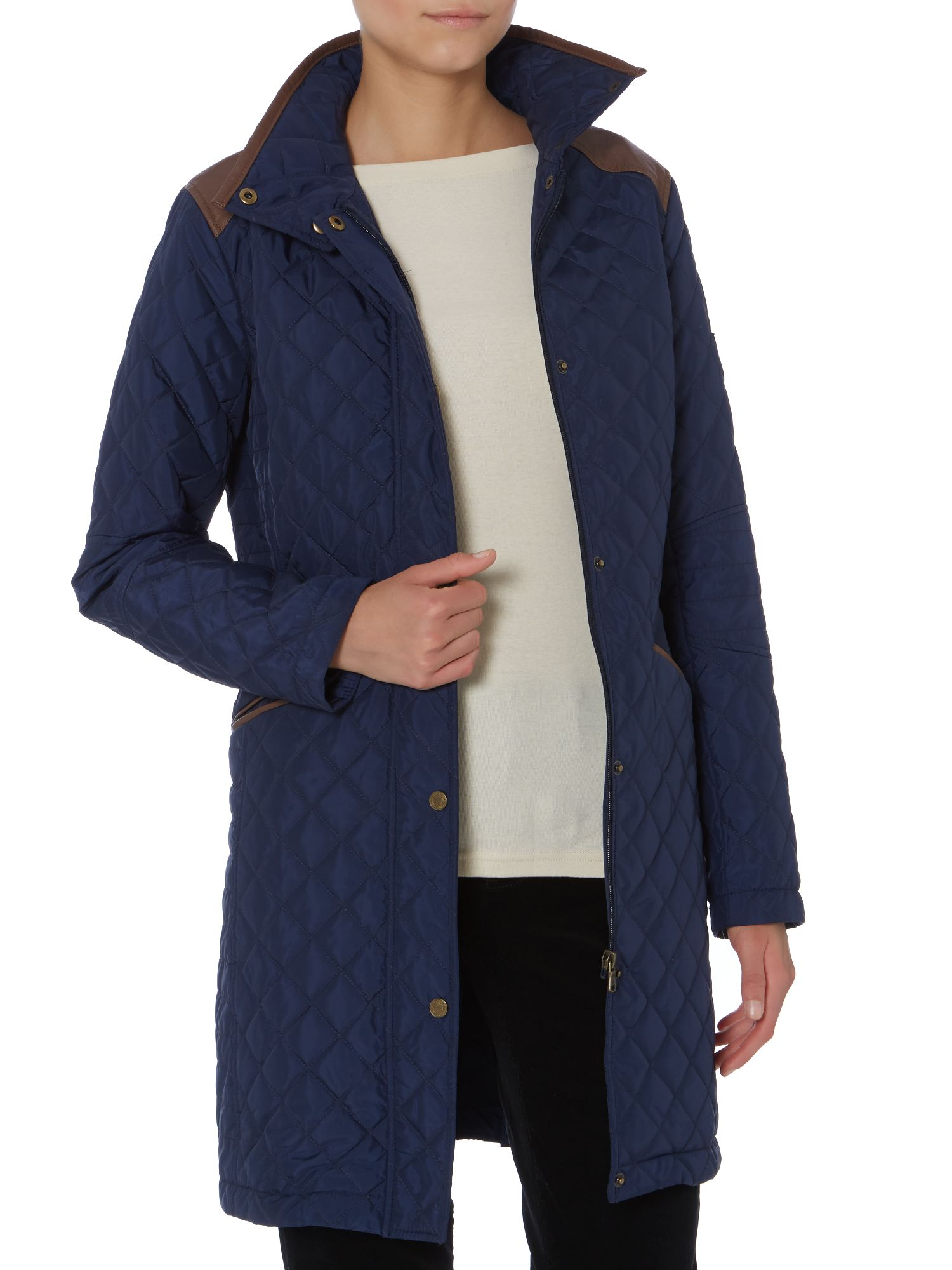 Lauren by ralph lauren Long Line Quilted Jacket With Shoulder ...
