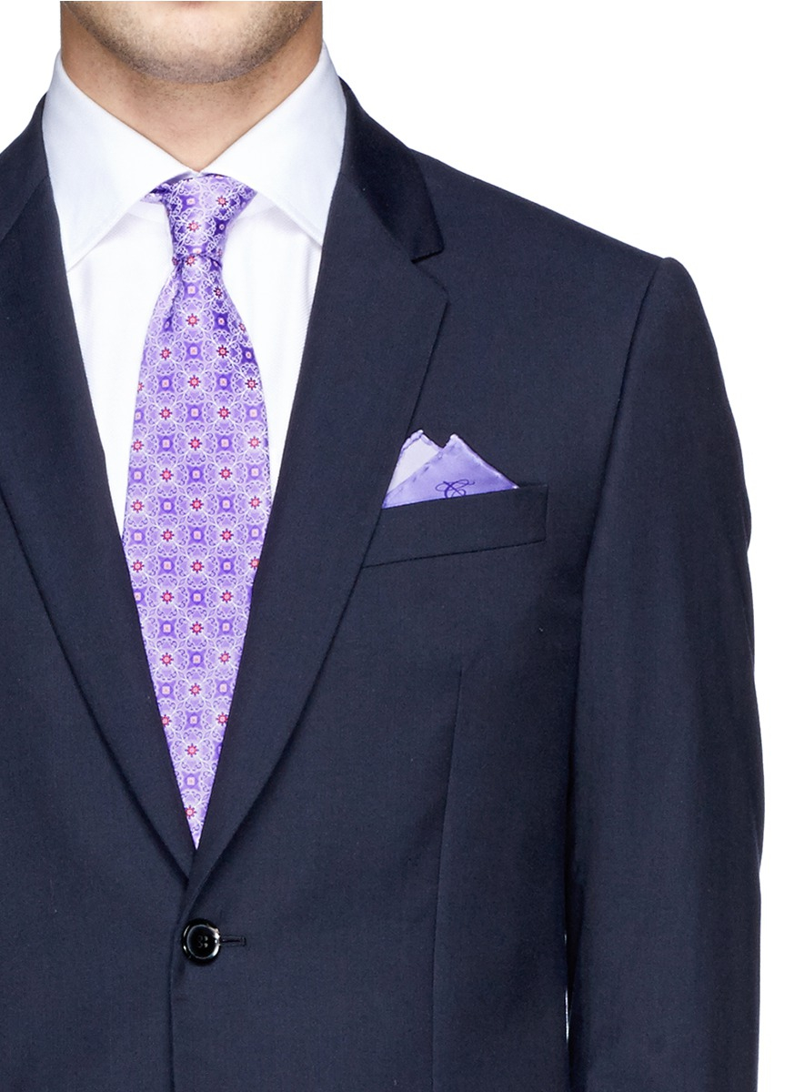 cd0cdc9d78ad Canali Floral Tie And Pocket Square Set in Purple for Men - Lyst