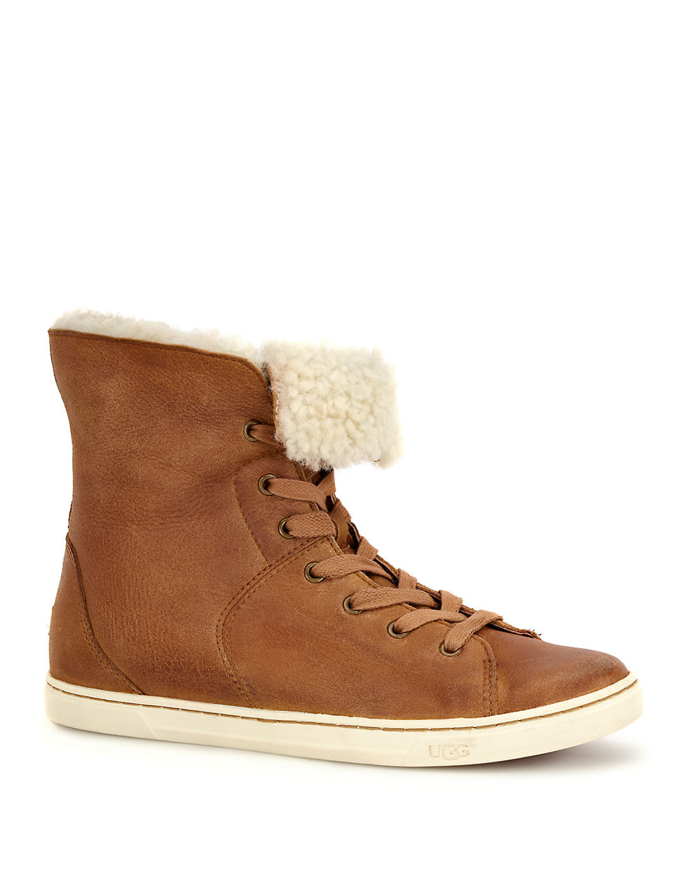 Lyst Ugg Croft Sheepskin High Top Sneakers In Brown
