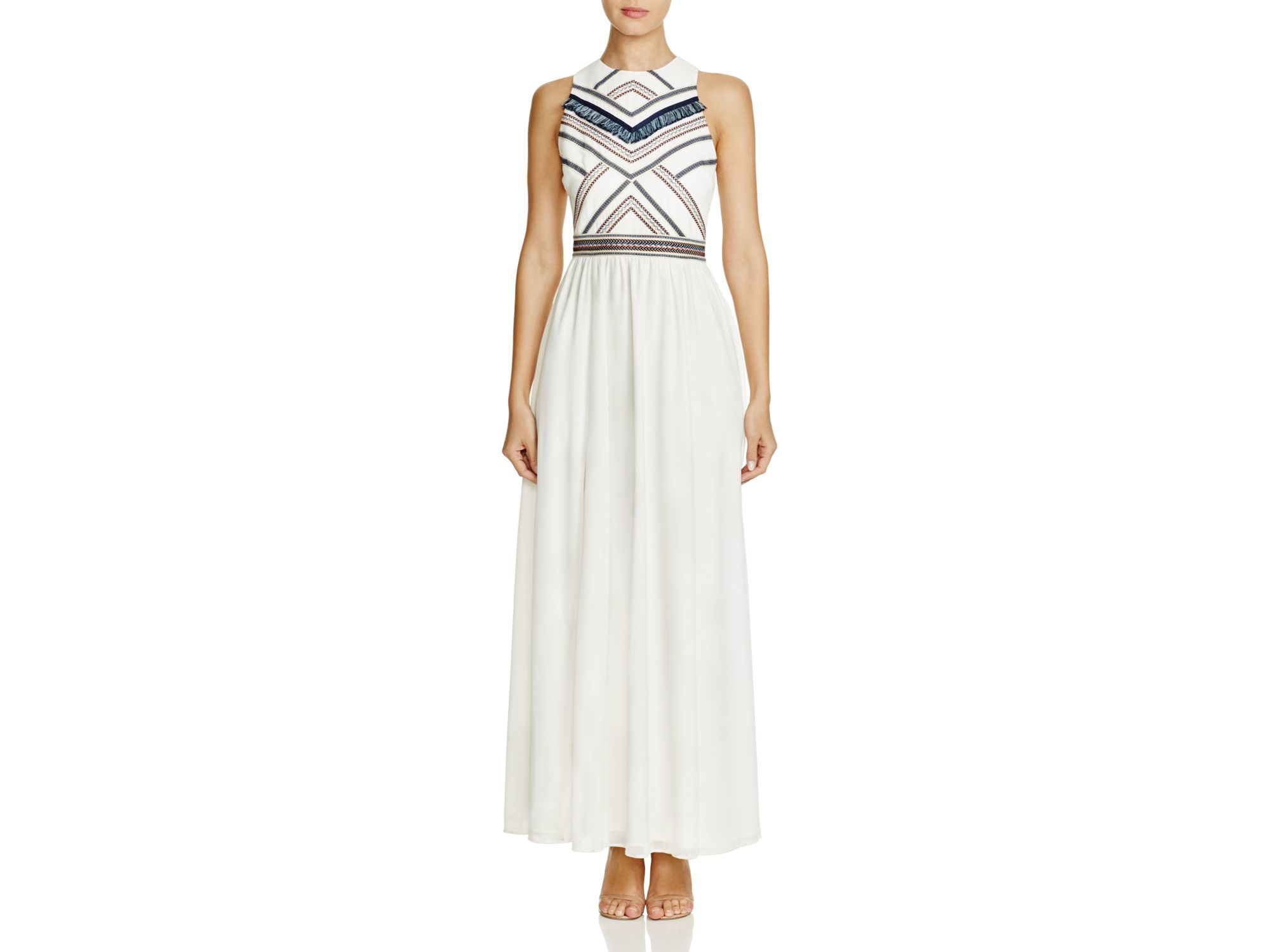 56875e0cc1884 Lyst - Adelyn Rae Fringed Embroidered Maxi Dress in White