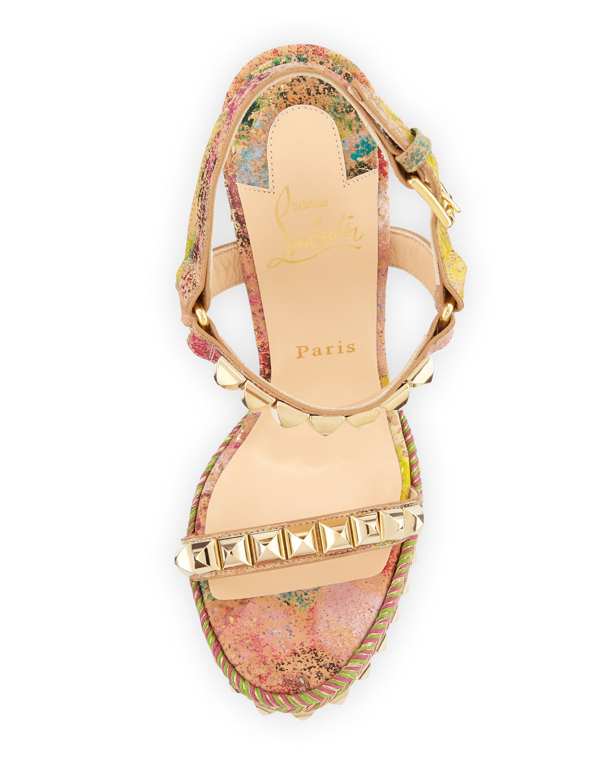 3a6012fefd08 mens white christian louboutin - Christian louboutin Cataclou Cork Wedge  Sandals in Pink (MULTI .