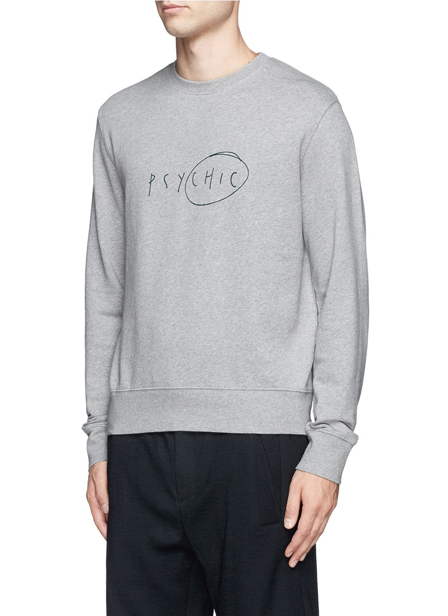 acne studios 39 casey 39 slogan print cotton sweater in gray for men lyst. Black Bedroom Furniture Sets. Home Design Ideas