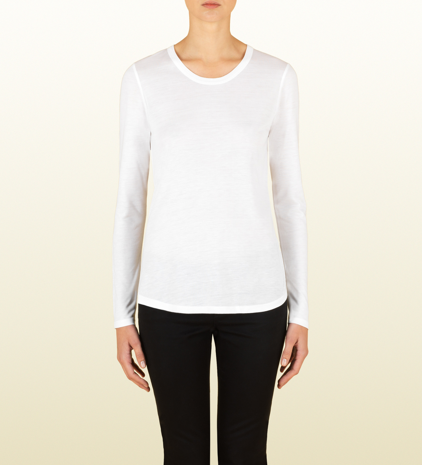 Lyst - Gucci Women s White Silk Jersey Long Sleeve T-shirt From ... 4ccfb72dfc