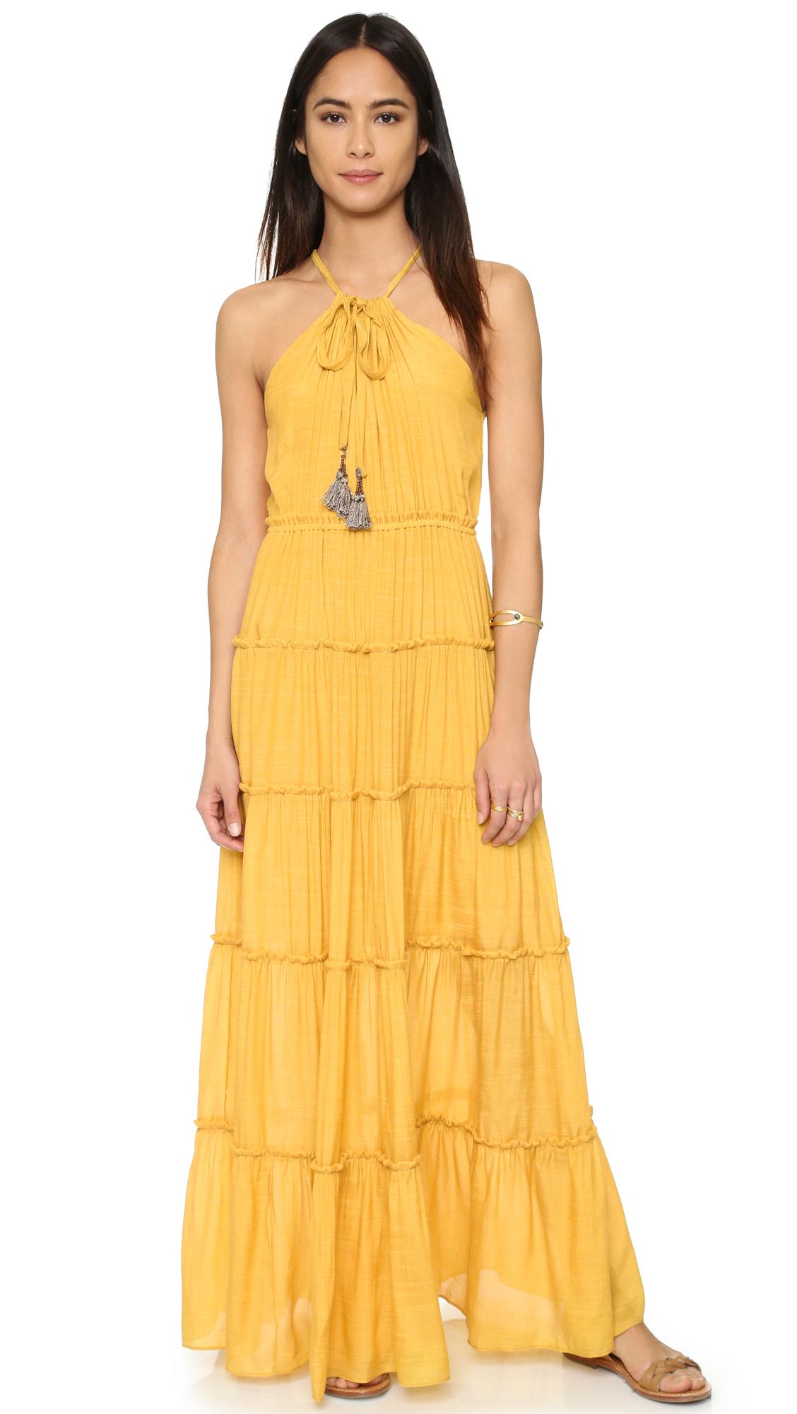 Lyst T Bags Ruffle Maxi Dress Mustard In Yellow