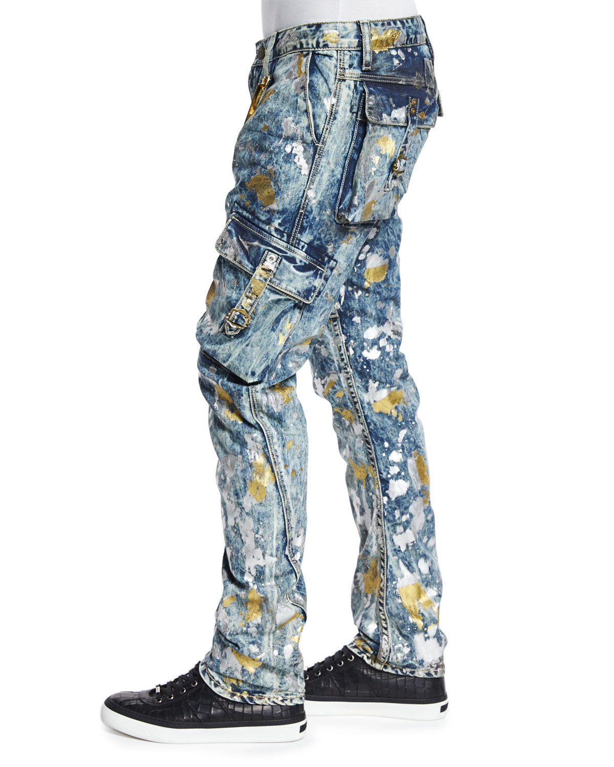 Lyst Robin S Jean Paint Splatter Cargo Denim Jeans In